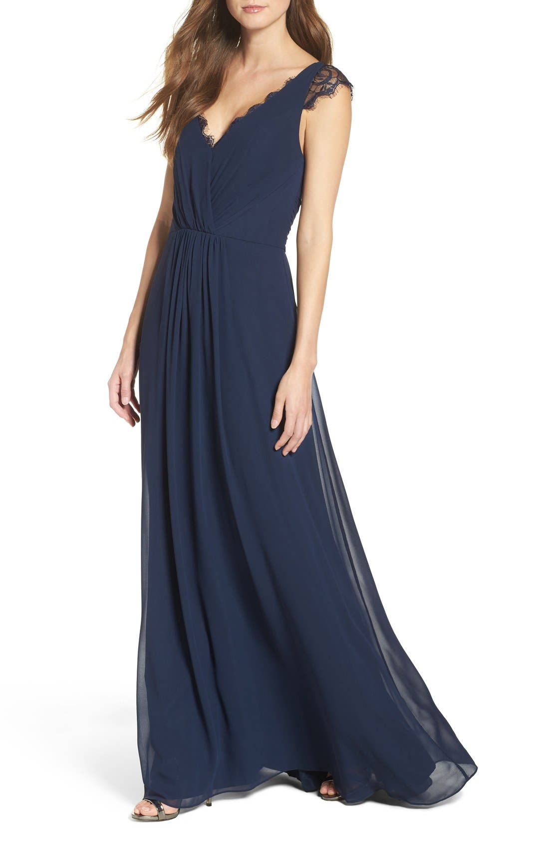 Lace & Chiffon Cap Sleeve Gown,                             Alternate thumbnail 4, color,                             Navy