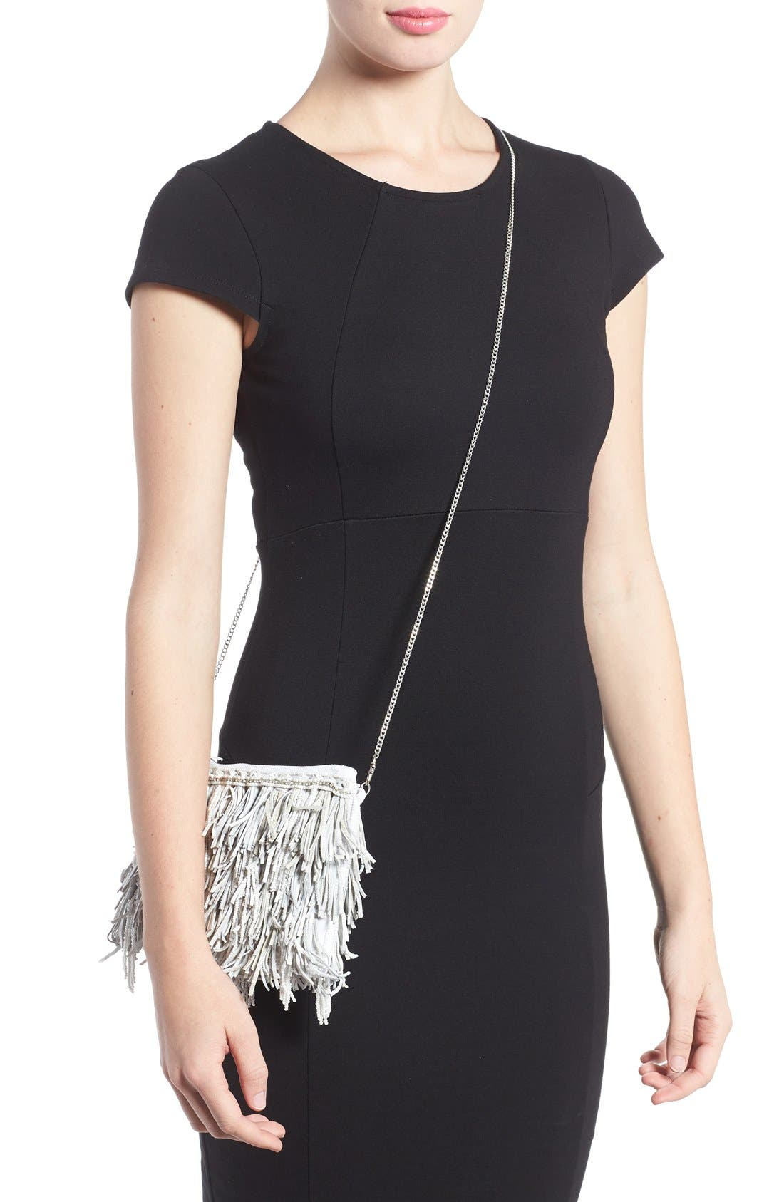 Alternate Image 2  - G-lish Bead & Leather Fringe Crossbody Bag
