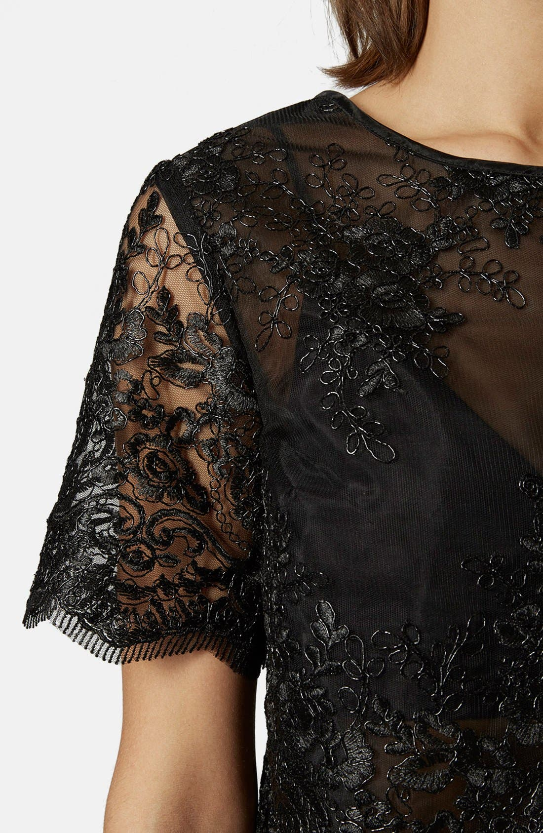 Alternate Image 4  - Topshop Lace Overlay Tee