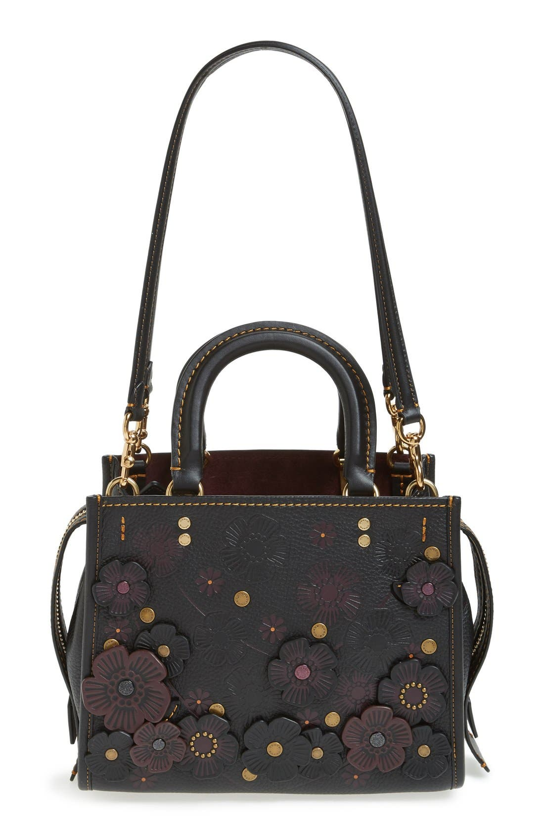 Rogue 25 Tea Rose Appliqué Leather Crossbody Bag,                             Alternate thumbnail 2, color,                             Black