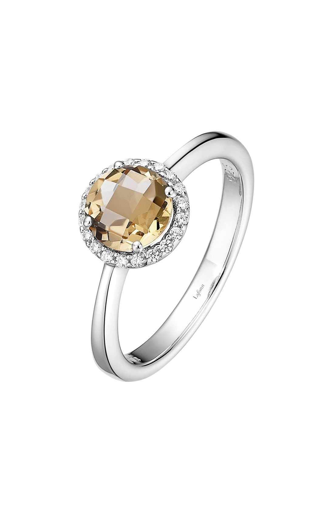 Birthstone Halo Ring,                             Main thumbnail 1, color,                             November Citrine / Silver