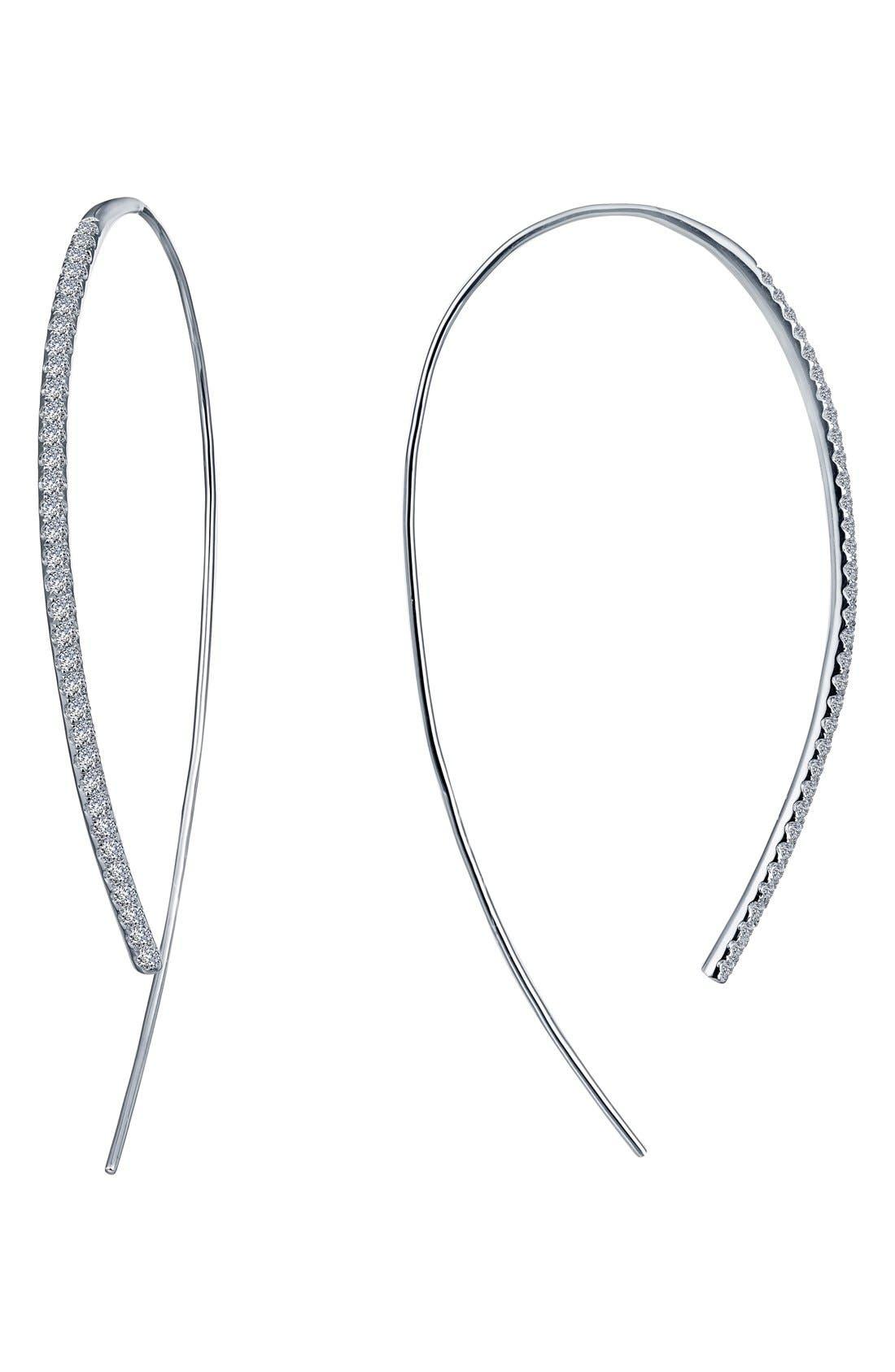 Open Hoop Threader Earrings,                             Main thumbnail 1, color,                             Silver
