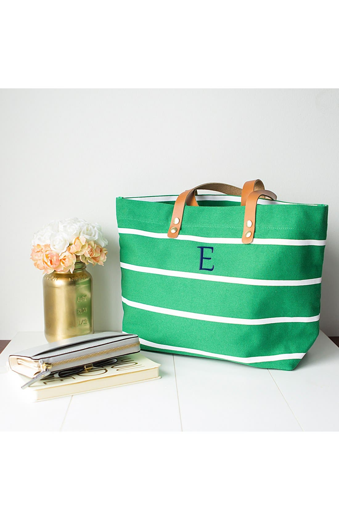 Alternate Image 6  - Cathy's Concepts Monogram Stripe Tote