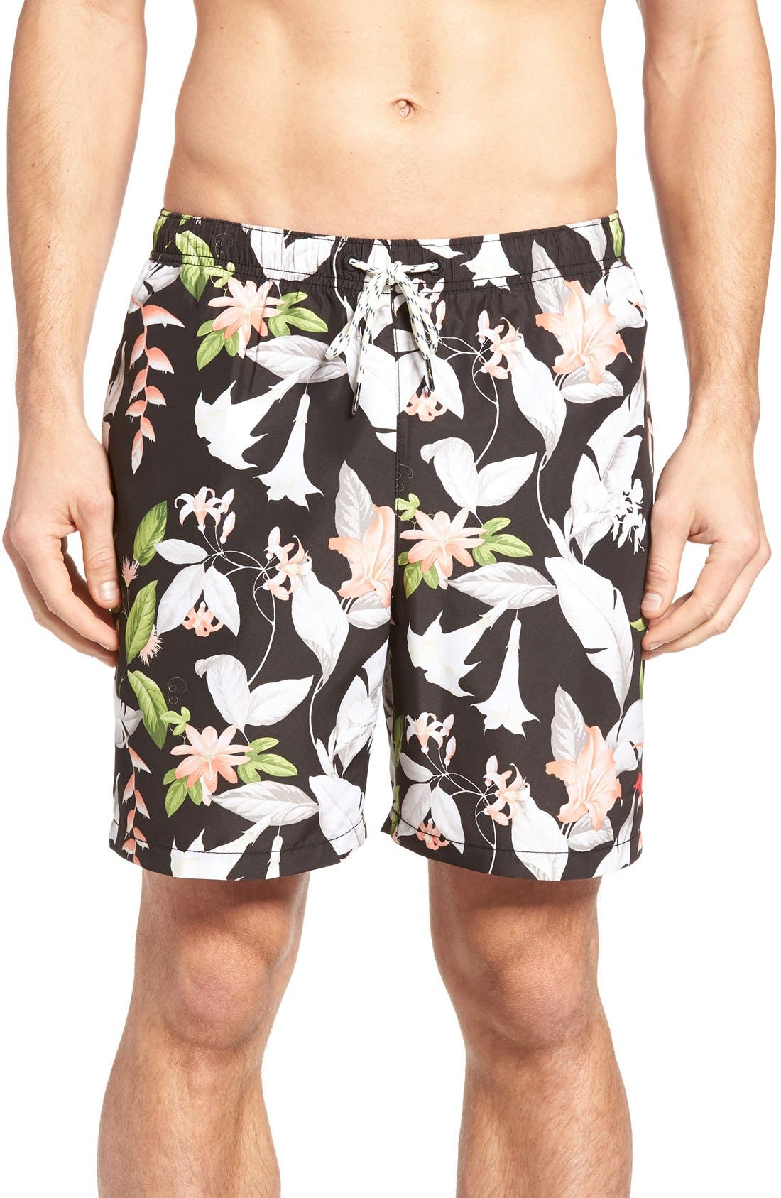 Naples Brego Blooms Swim Trunks,                             Main thumbnail 1, color,                             Jet Black