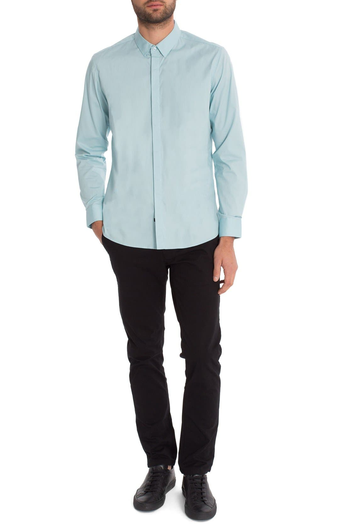 'Peace Train' Trim Fit Woven Shirt,                             Alternate thumbnail 4, color,                             Sterling Blue