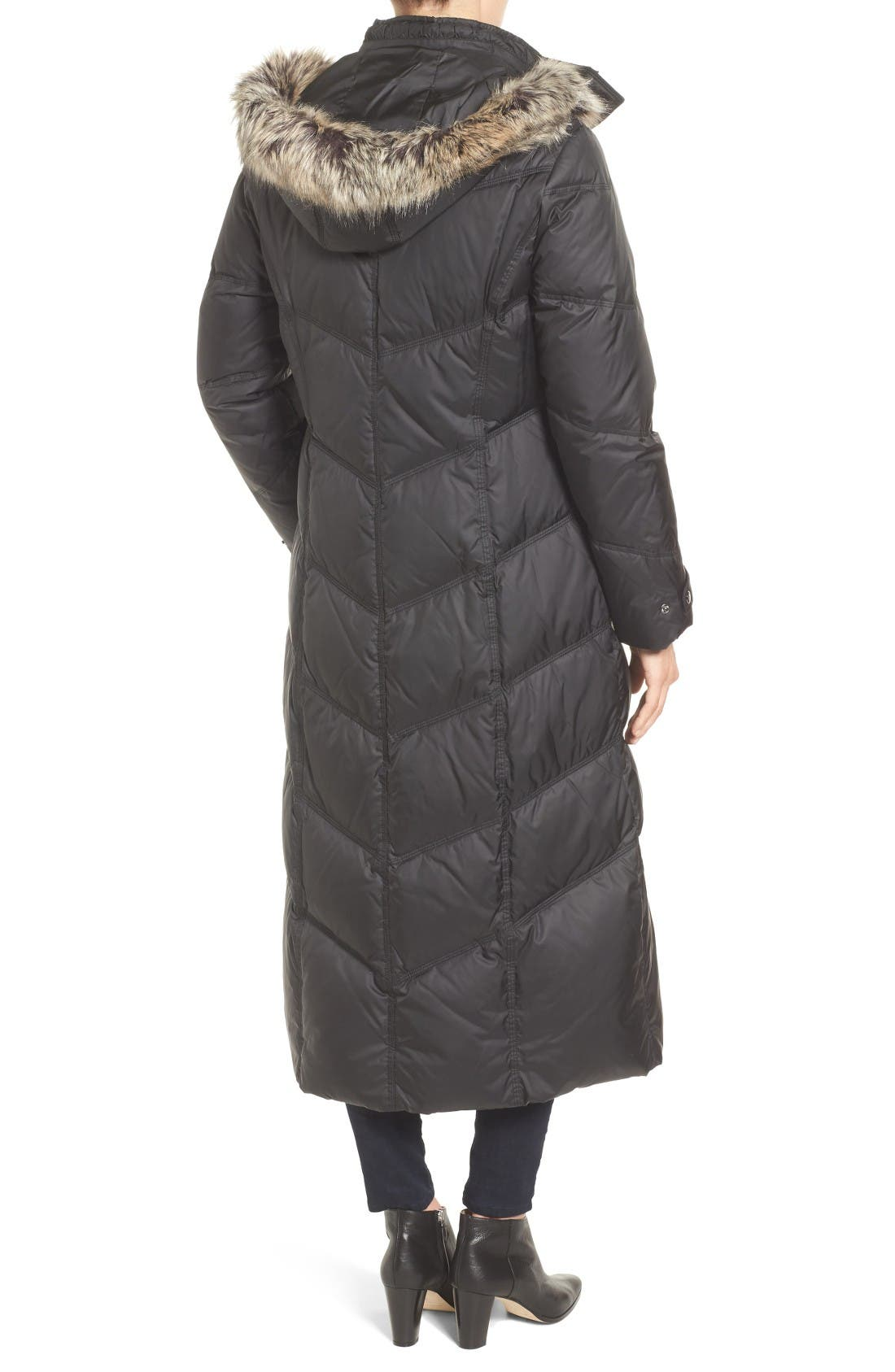 Alternate Image 2  - London Fog Faux Fur Trim Quilted Maxi Coat