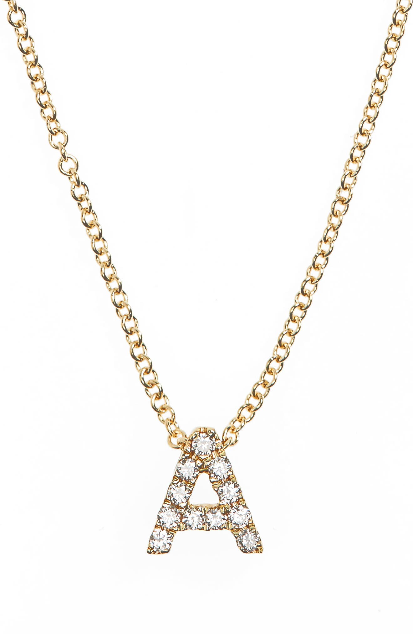 Bony Levy 18k Gold Pavé Diamond Initial Pendant Necklace (Nordstrom Exclusive)
