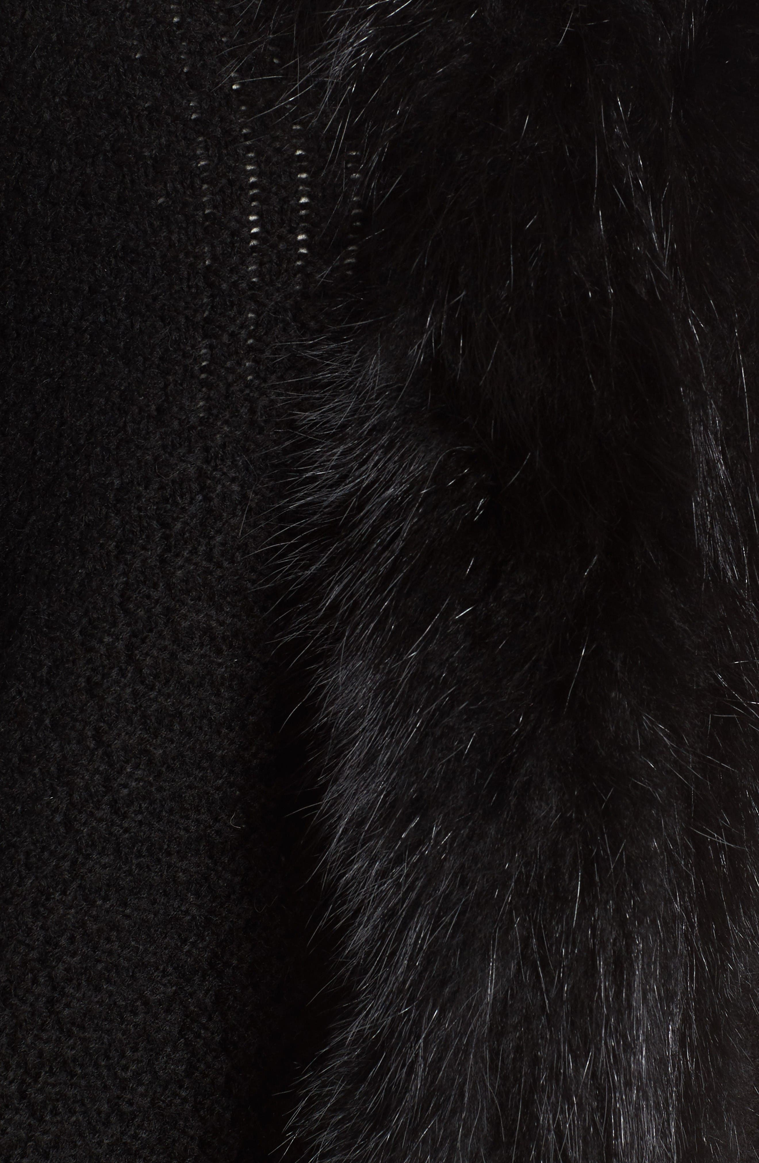 Genuine Raccoon Fur Trim Wrap,                             Alternate thumbnail 5, color,                             Black