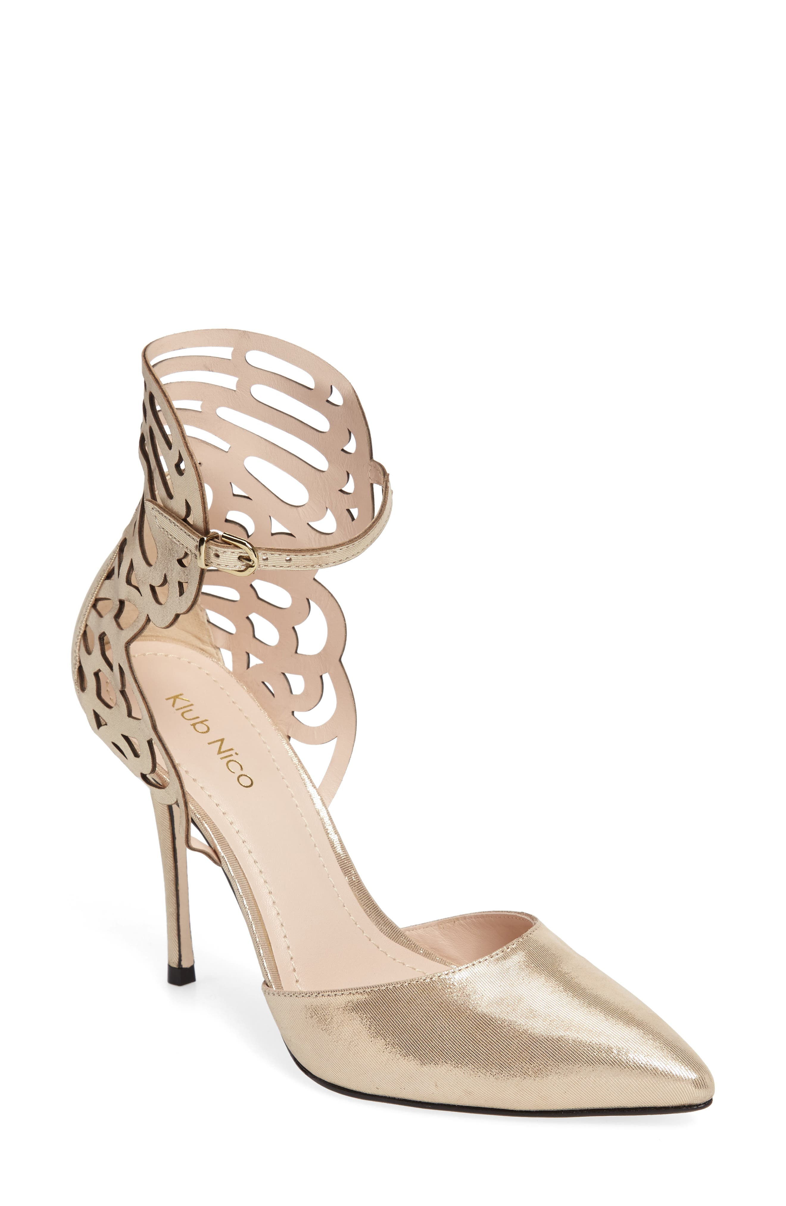 'Regina' Pointy Toe Pump,                             Main thumbnail 1, color,                             Champagne Leather