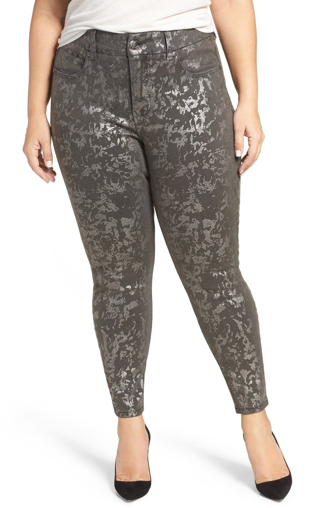 Melissa McCarthy Seven7 Stretch Foil Print Pencil Jeans (Plus Size)
