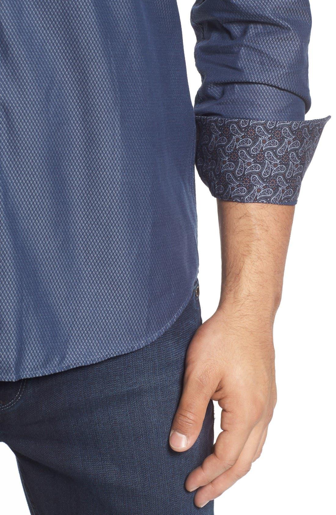 Alternate Image 4  - Stone Rose Slim Fit Diamond Jacquard Sport Shirt