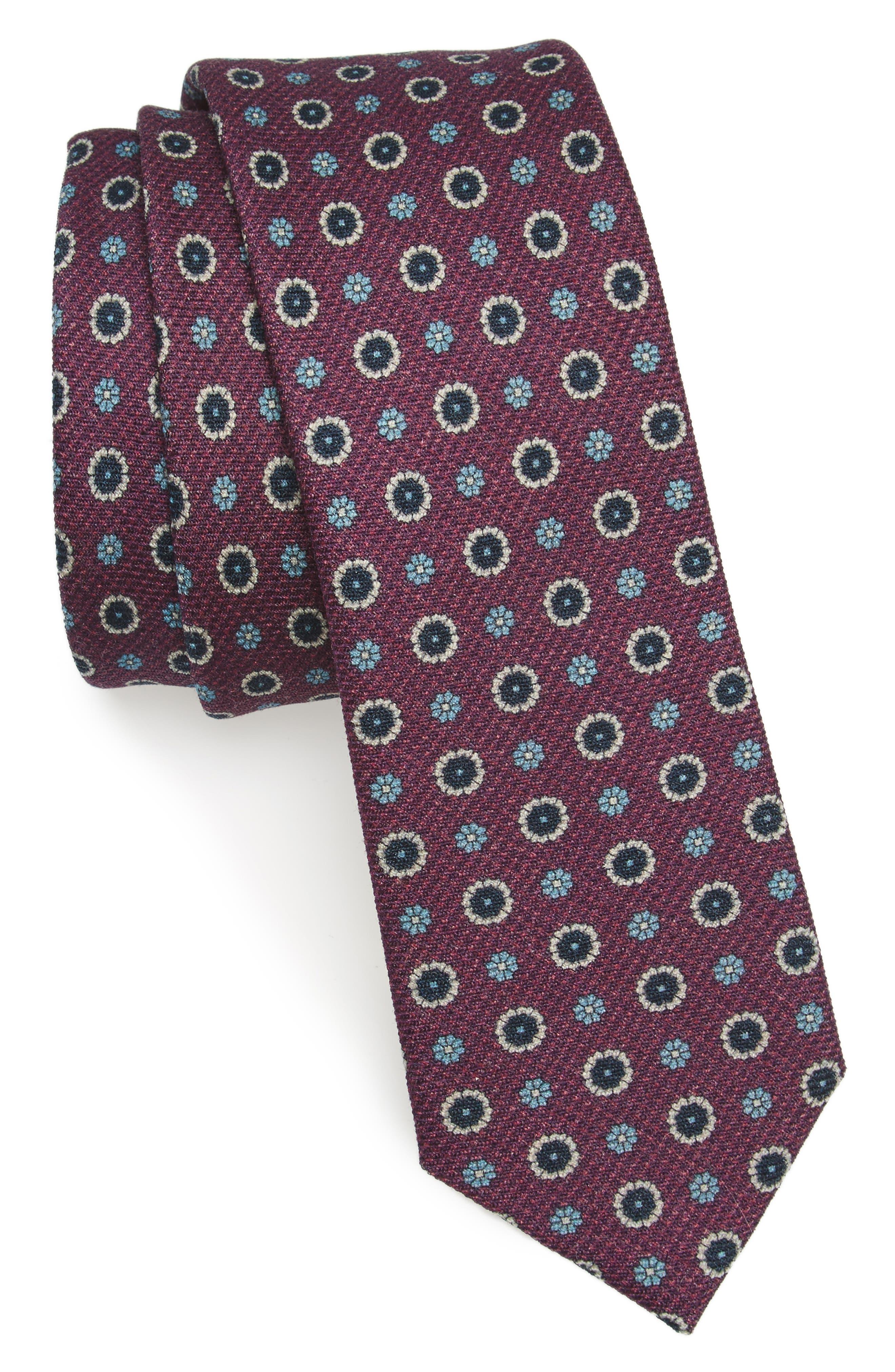 Floral Medallion Wool Tie,                         Main,                         color, Deep Azalea