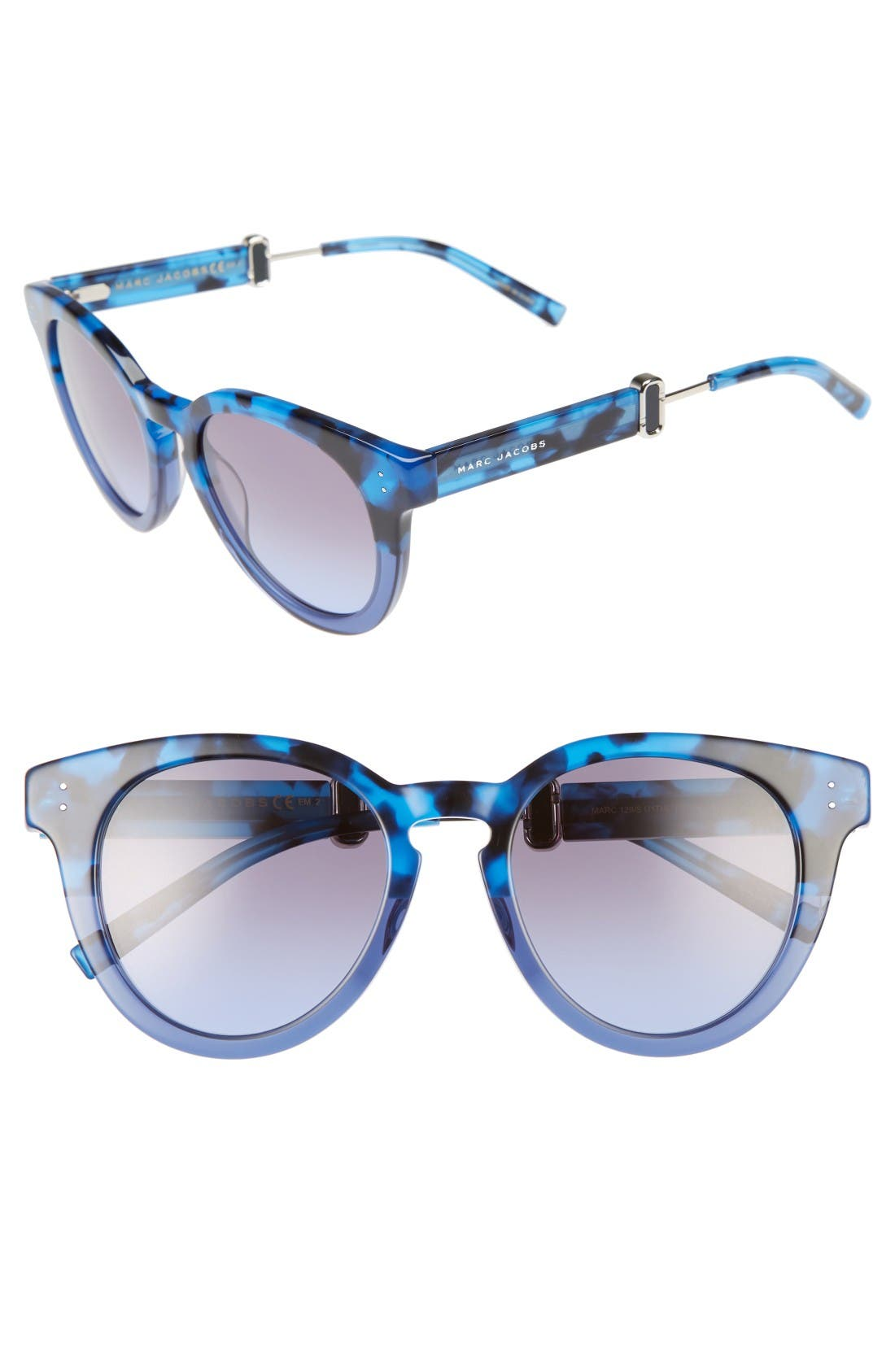 50mm Round Sunglasses,                             Main thumbnail 1, color,                             Blue Havana