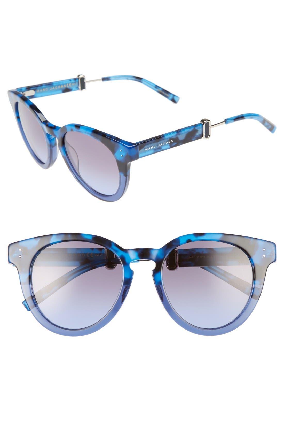 50mm Round Sunglasses,                         Main,                         color, Blue Havana