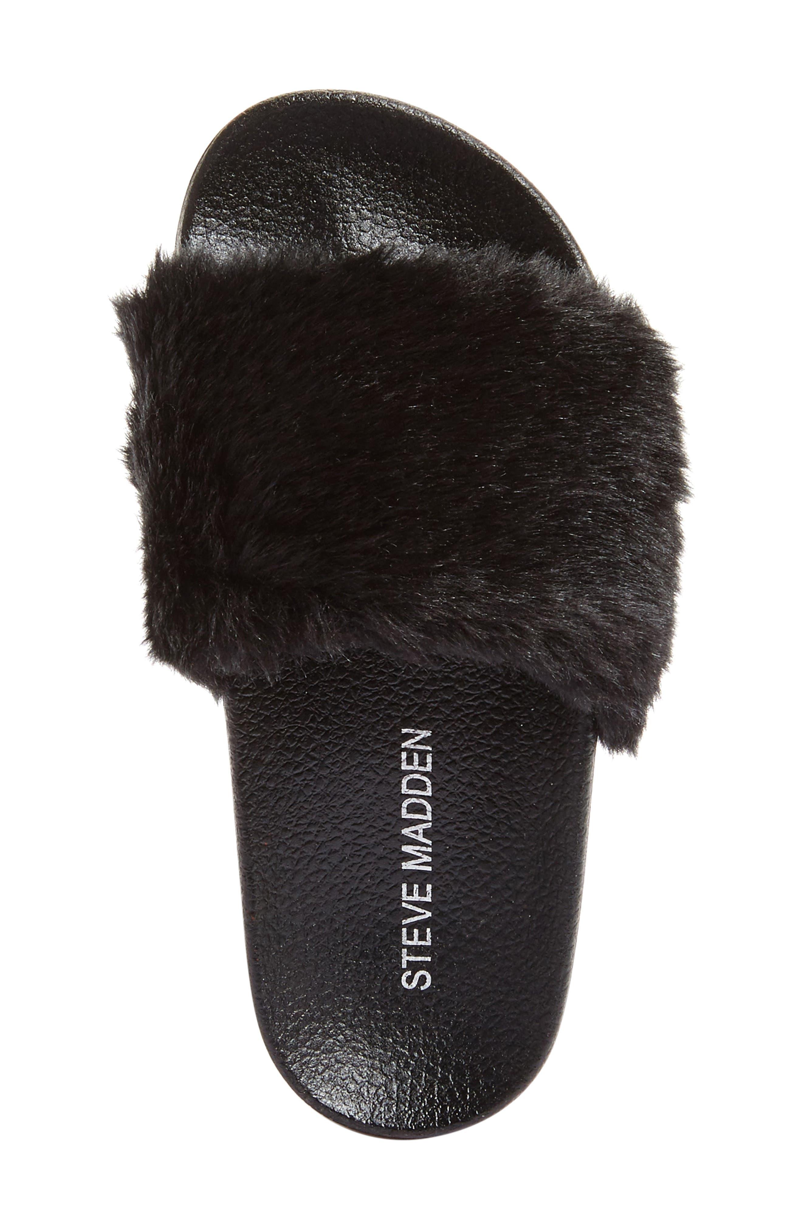 Softey Slide,                             Alternate thumbnail 3, color,                             Black Faux Fur