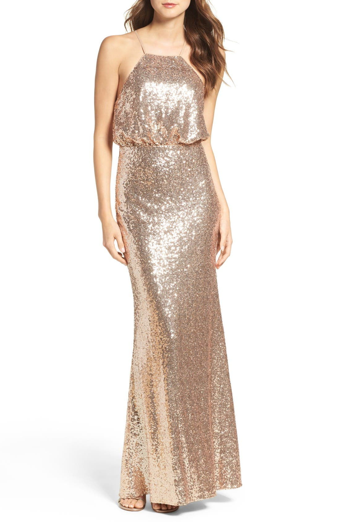 Strappy Sequin Blouson Gown,                         Main,                         color, Gold