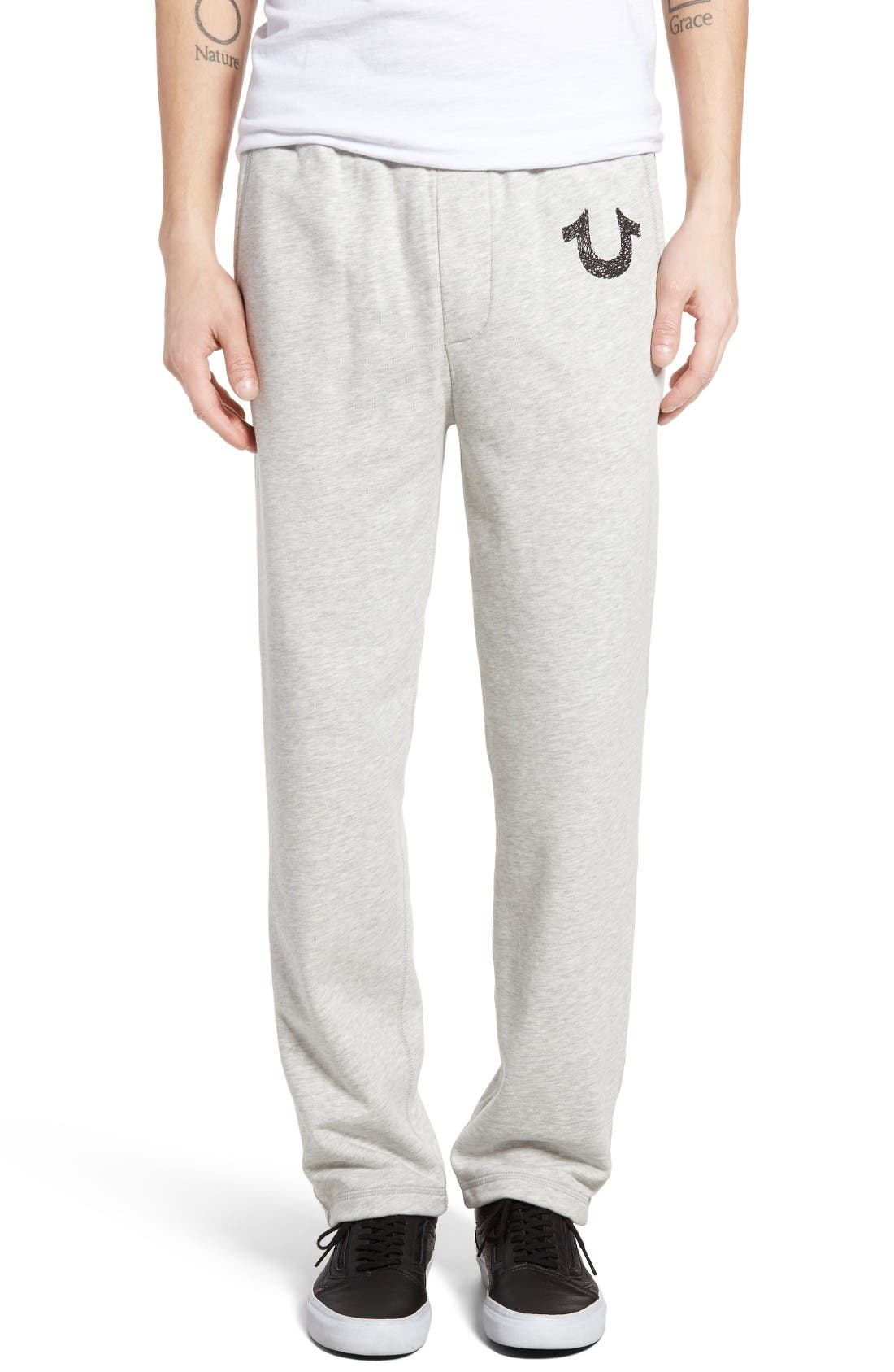 Open Leg Sweatpants,                             Main thumbnail 1, color,                             Heather Grey