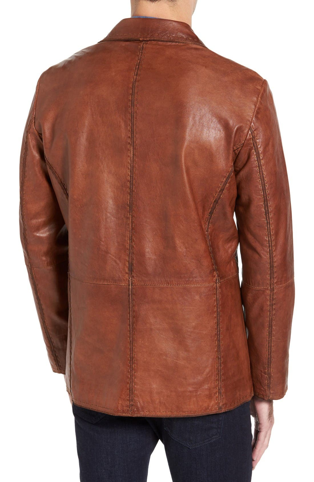 Lamb Leather Blazer,                             Alternate thumbnail 2, color,                             Cognac