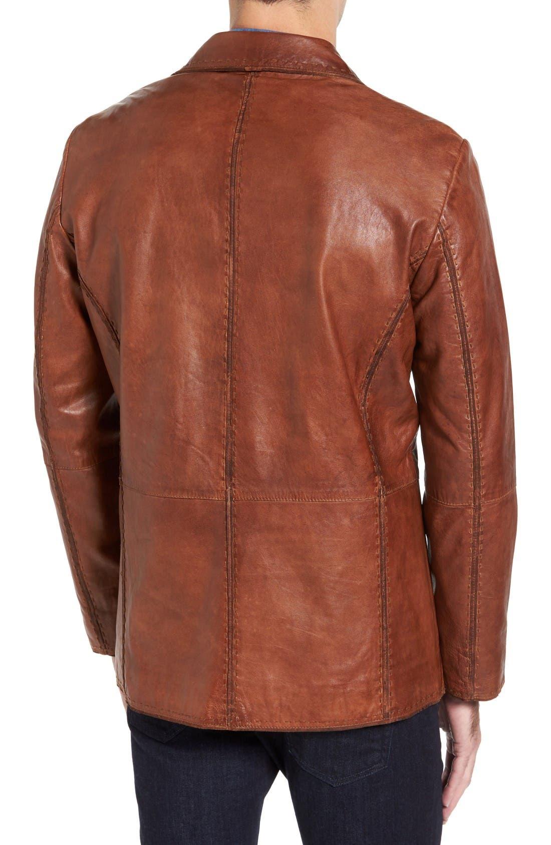 Alternate Image 2  - Missani le Collezioni Lamb Leather Blazer