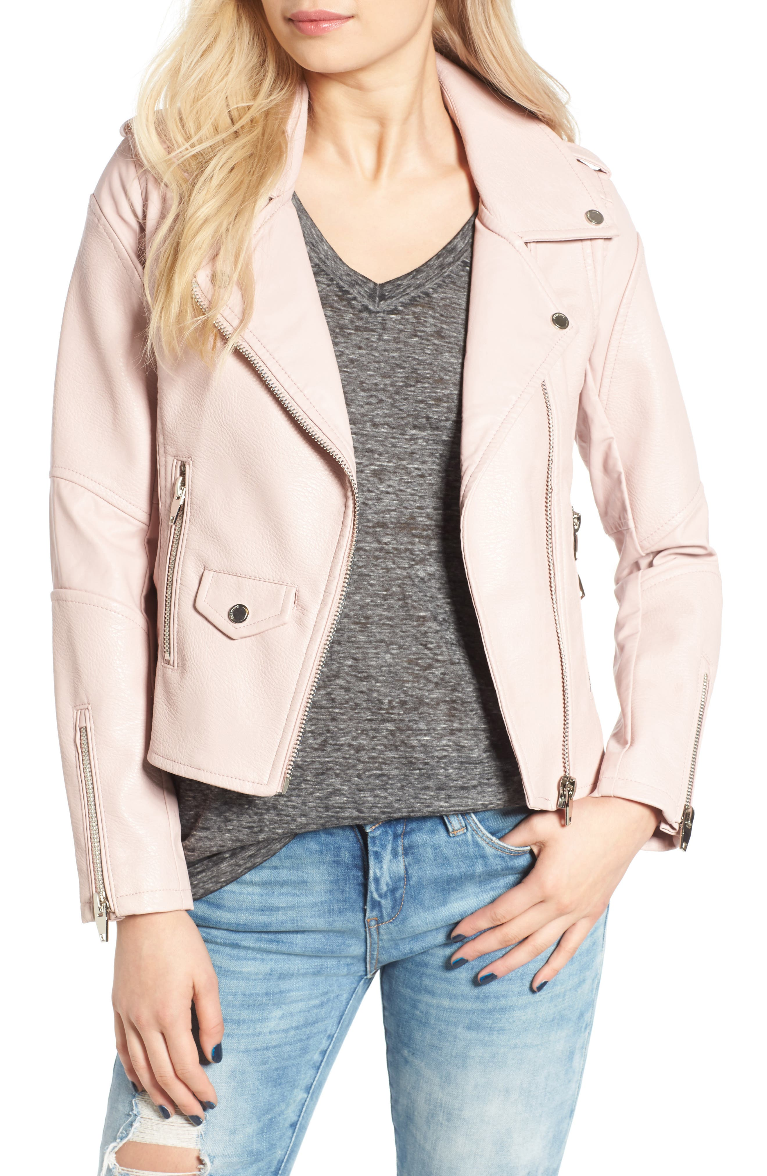 'Easy Rider' Faux Leather Moto Jacket,                         Main,                         color, No Blushing