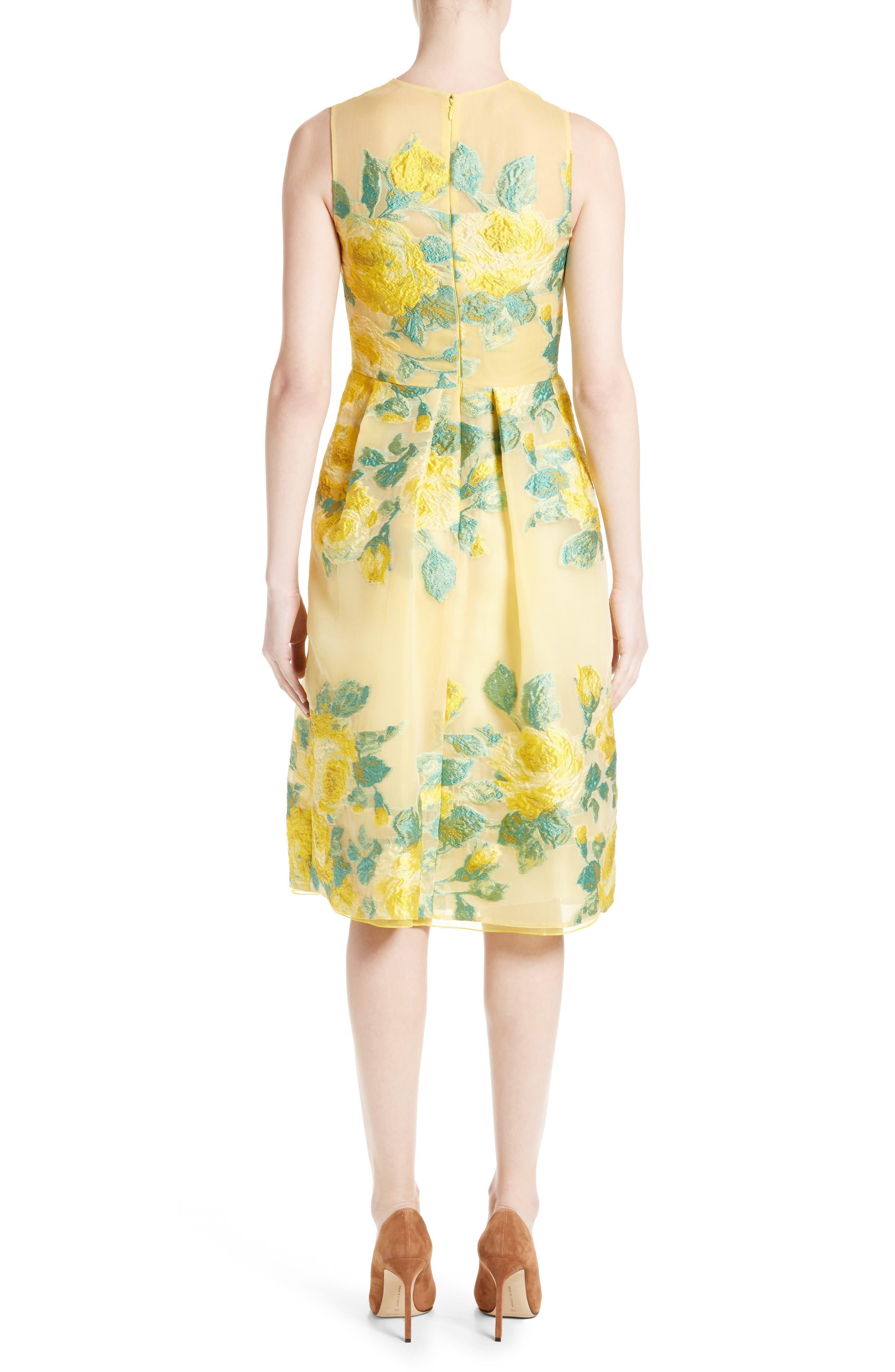 Floral Fil Coupé Dress,                             Alternate thumbnail 2, color,                             Citrine Multi