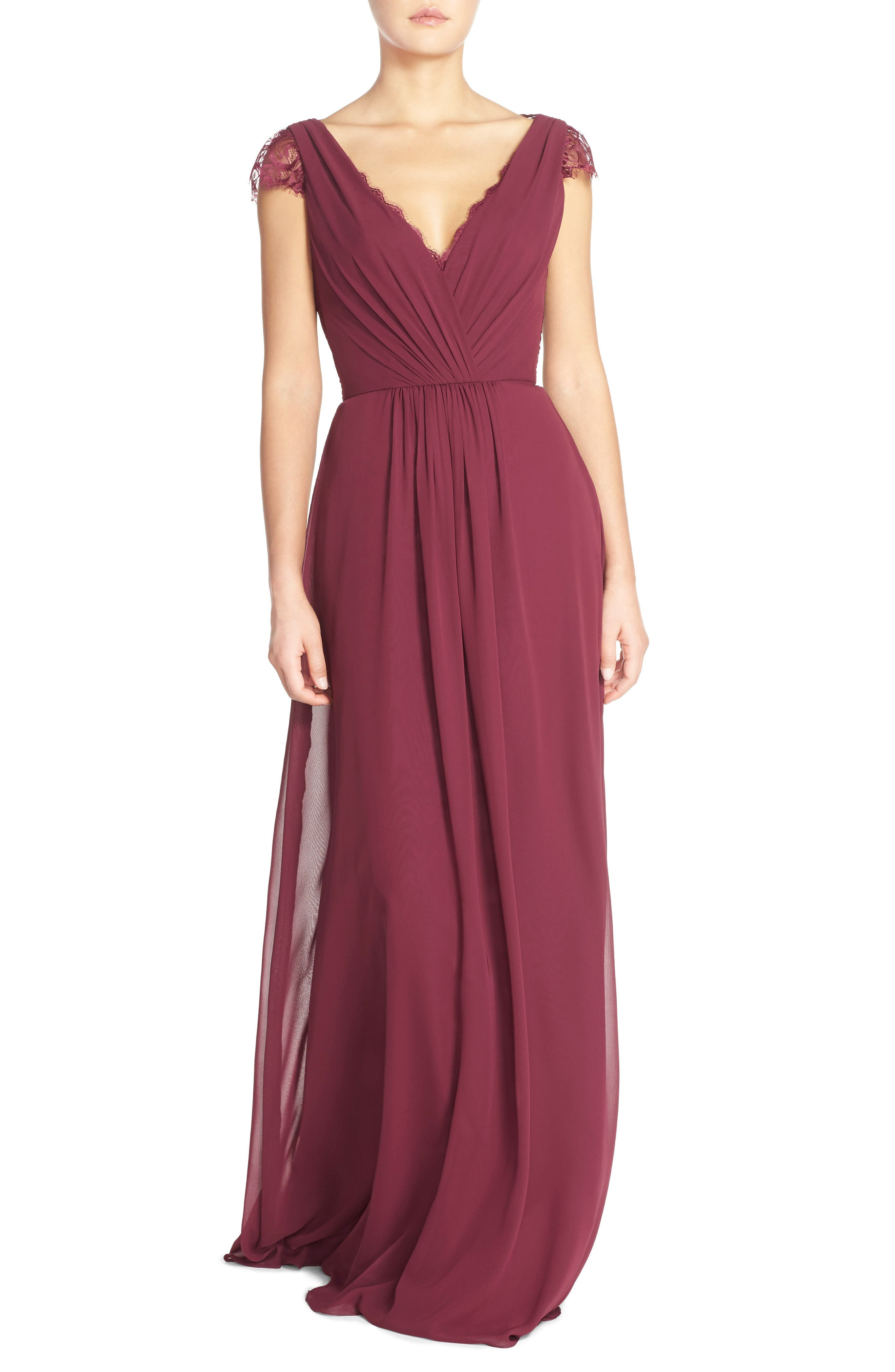 Hayley Paige Occasions Lace & Chiffon Cap Sleeve Gown