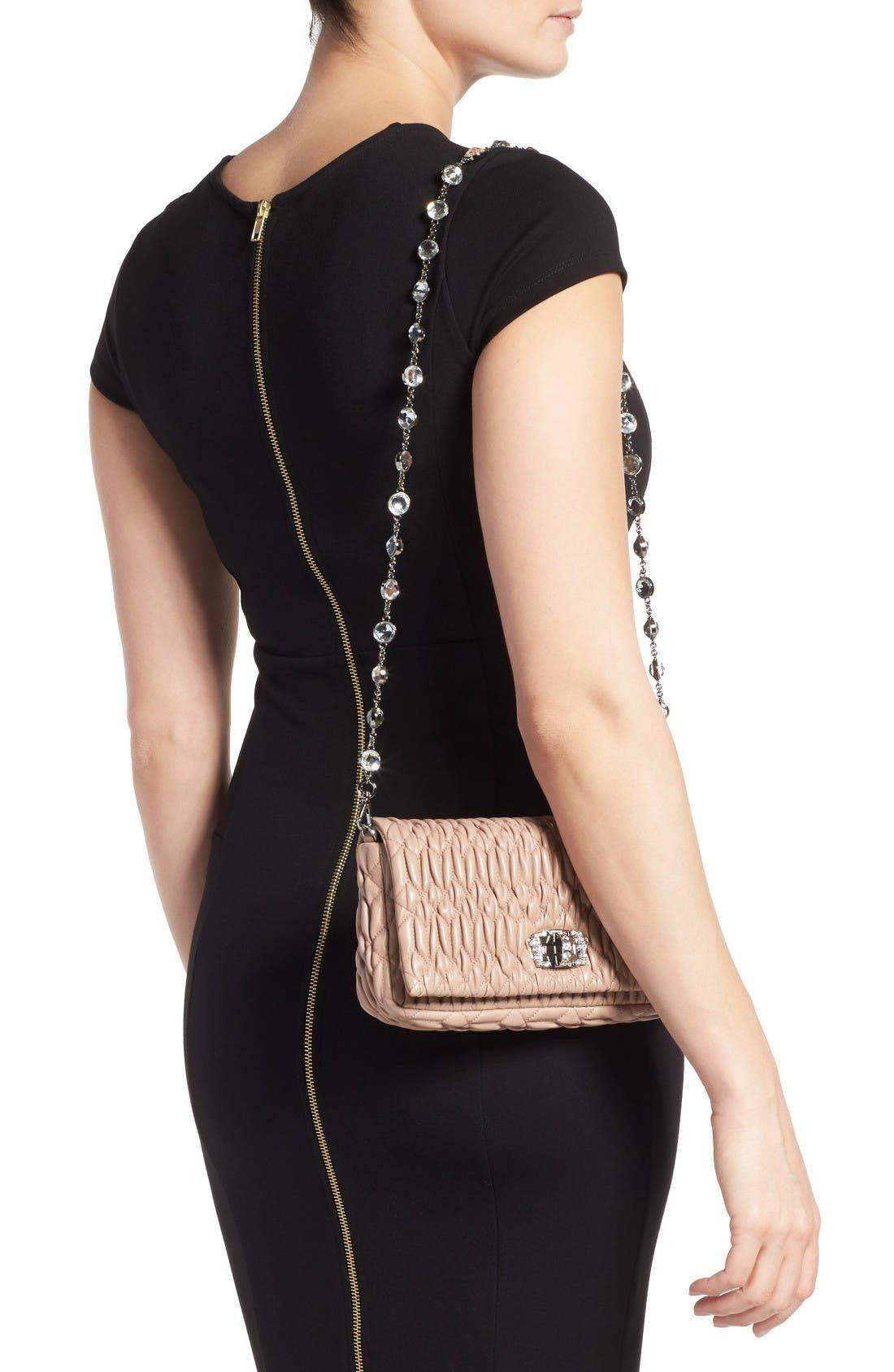 Small Crystal Embellished Nappa Shoulder Bag,                             Alternate thumbnail 2, color,                             Cammeo