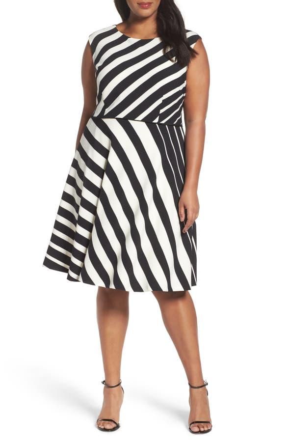 Tahari Stripe Fit Flare Dress Plus Size Nordstrom