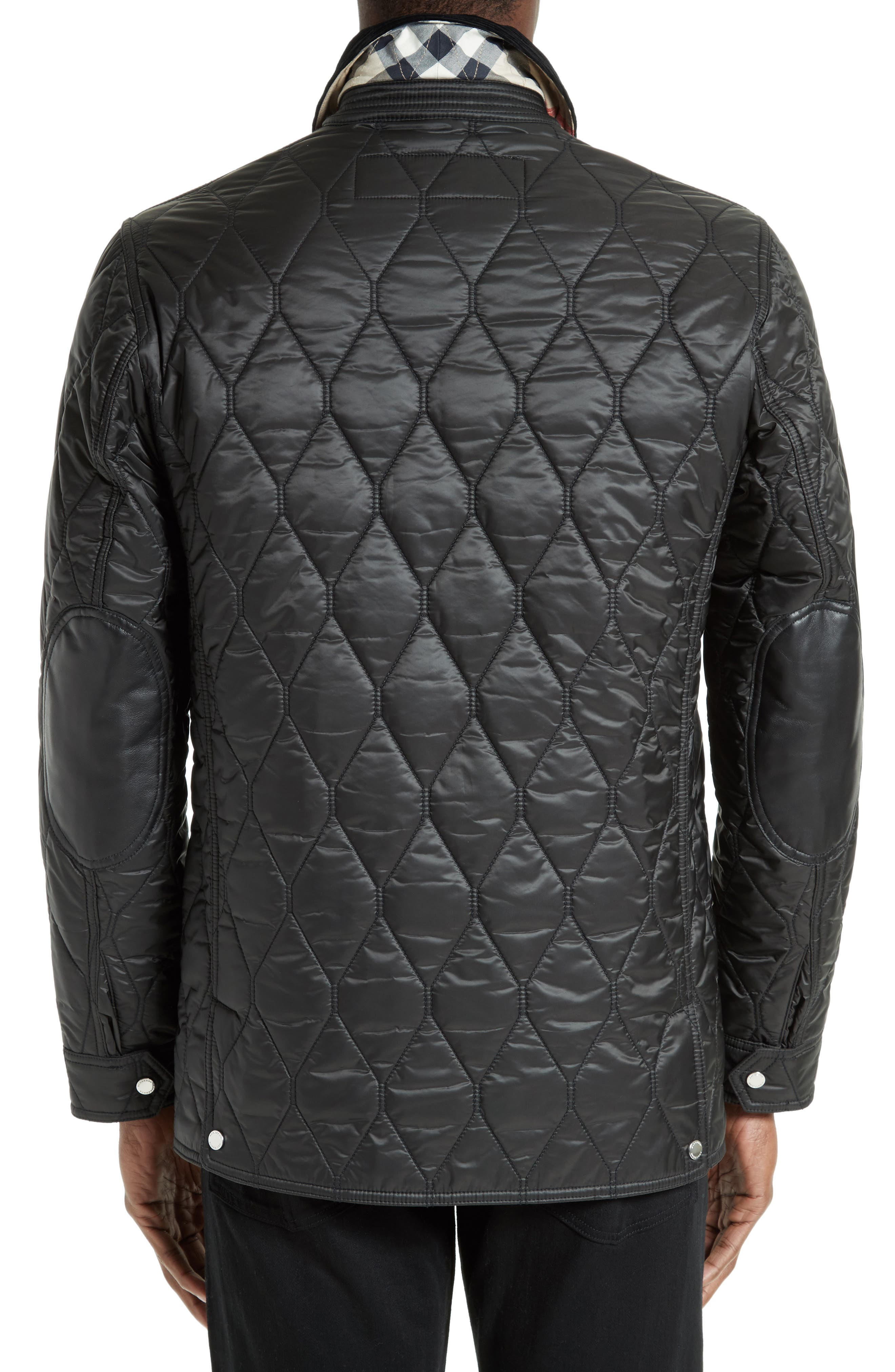 Gransworth Leather Elbow Patch Quilted Jacket,                             Alternate thumbnail 2, color,                             Black