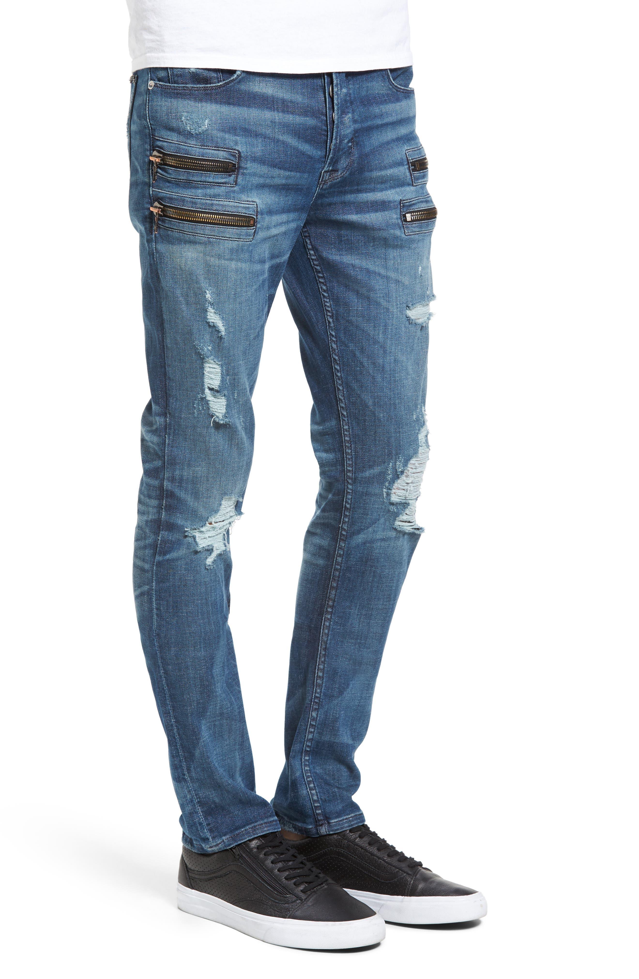 Broderick Biker Skinny Fit Jeans,                             Alternate thumbnail 3, color,                             Hayday 2