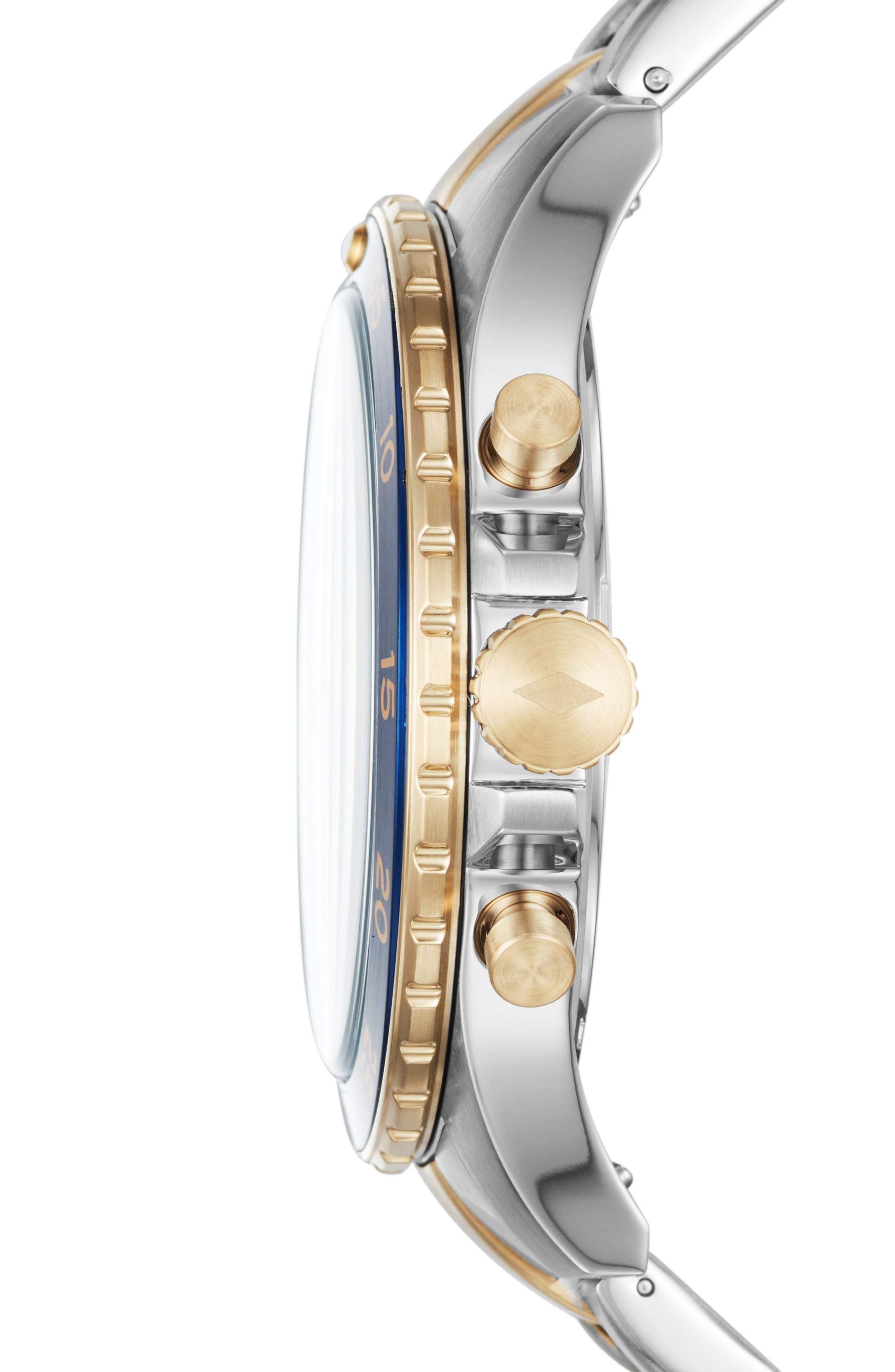 Alternate Image 2  - Fossil Crewmaster Chronograph Bracelet Watch, 46mm