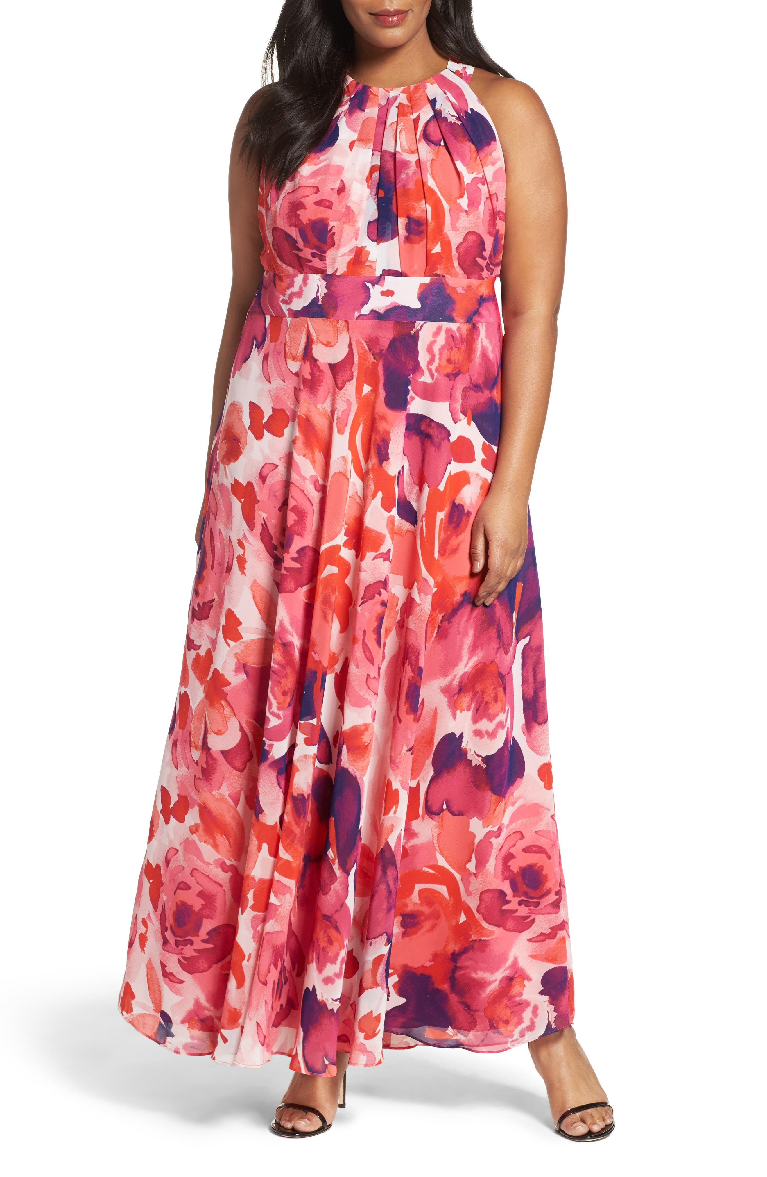 Eliza J Floral Print Halter Maxi Dress (Plus Size)