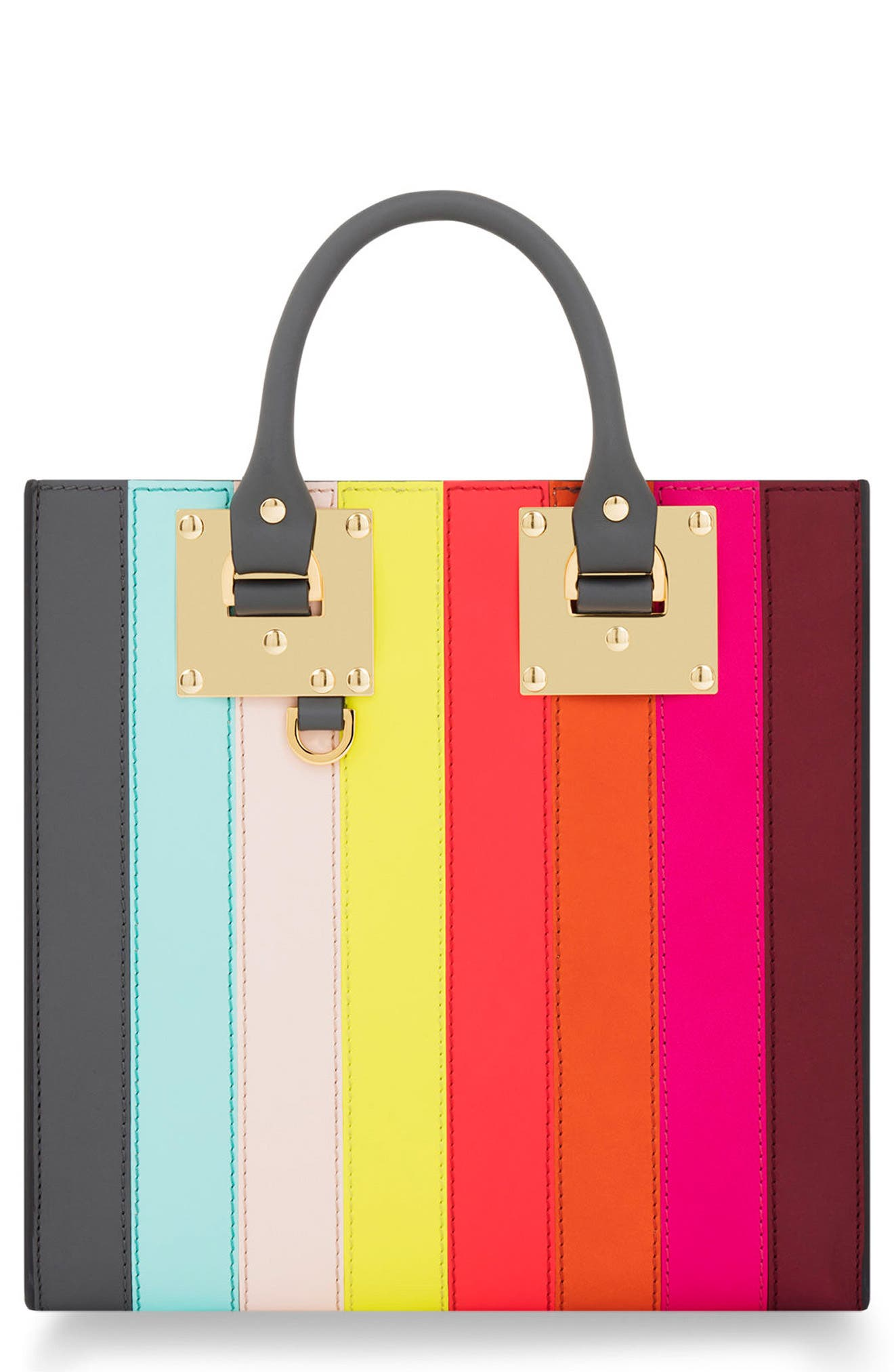 Alternate Image 1 Selected - Sophie Hulme Rainbow Stripe Albion Leather Tote
