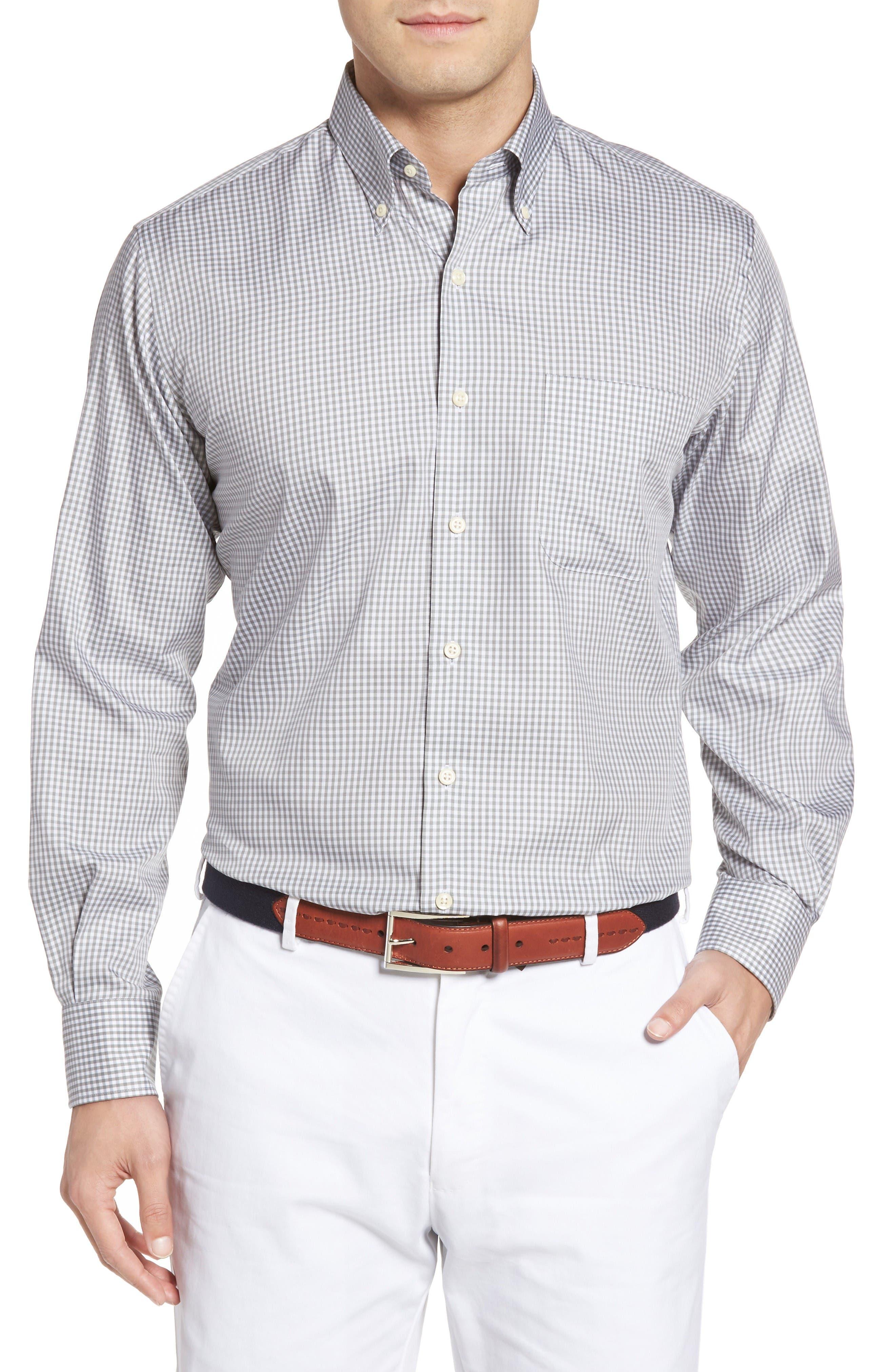 Crown Soft Gingham Regular Fit Sport Shirt,                             Main thumbnail 1, color,                             Light Grey