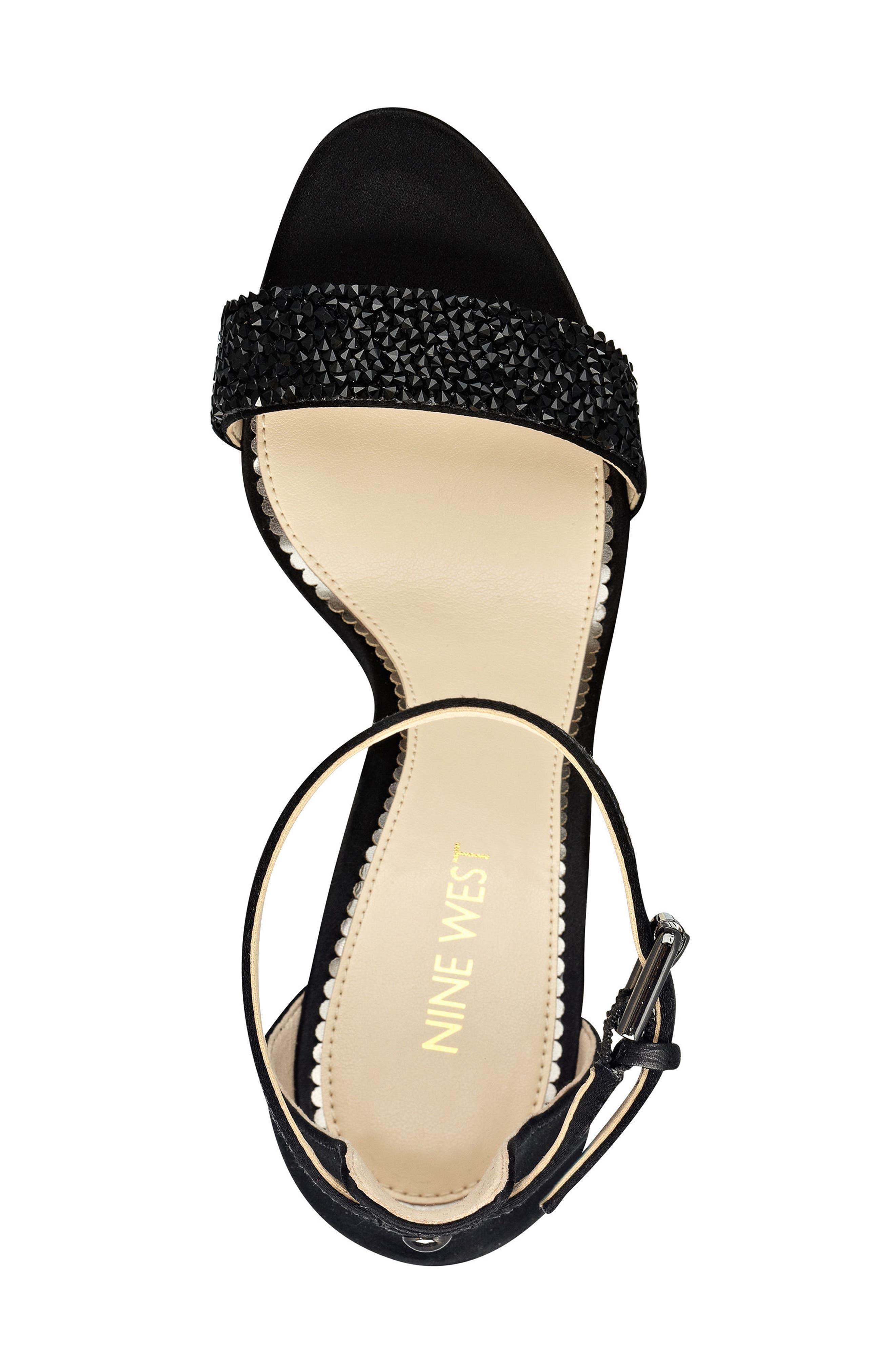 'Mana' Ankle Strap Sandal,                             Alternate thumbnail 3, color,                             Black Satin