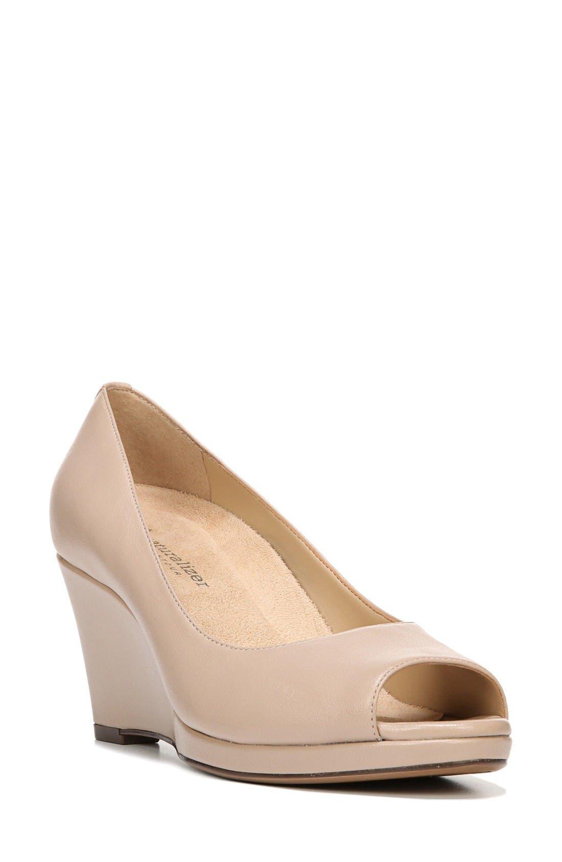 Olivia Peep Toe Wedge,                         Main,                         color, Taupe Leather
