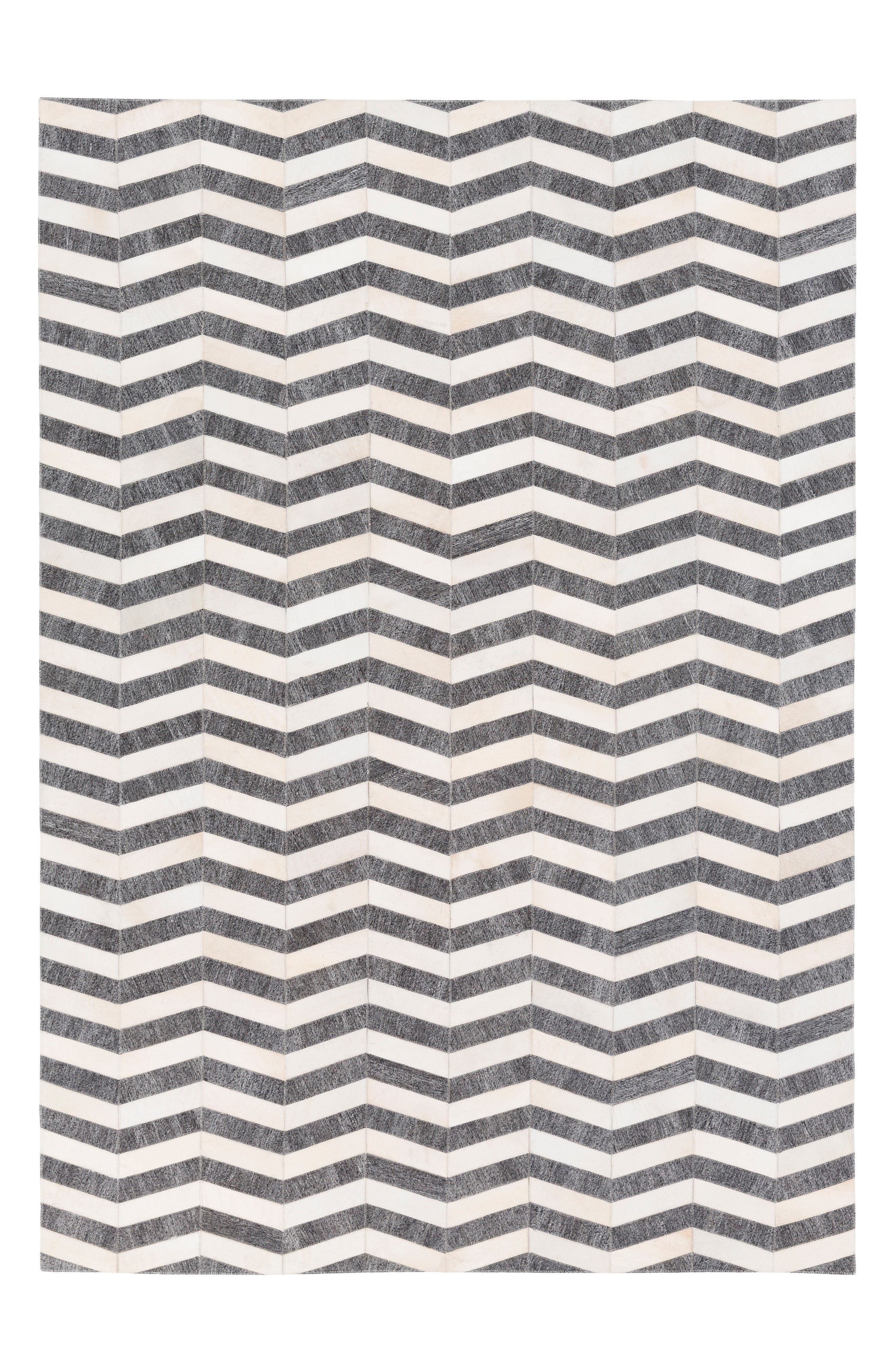 Medora Chevron Genuine Calf Hair Rug,                         Main,                         color, Grey