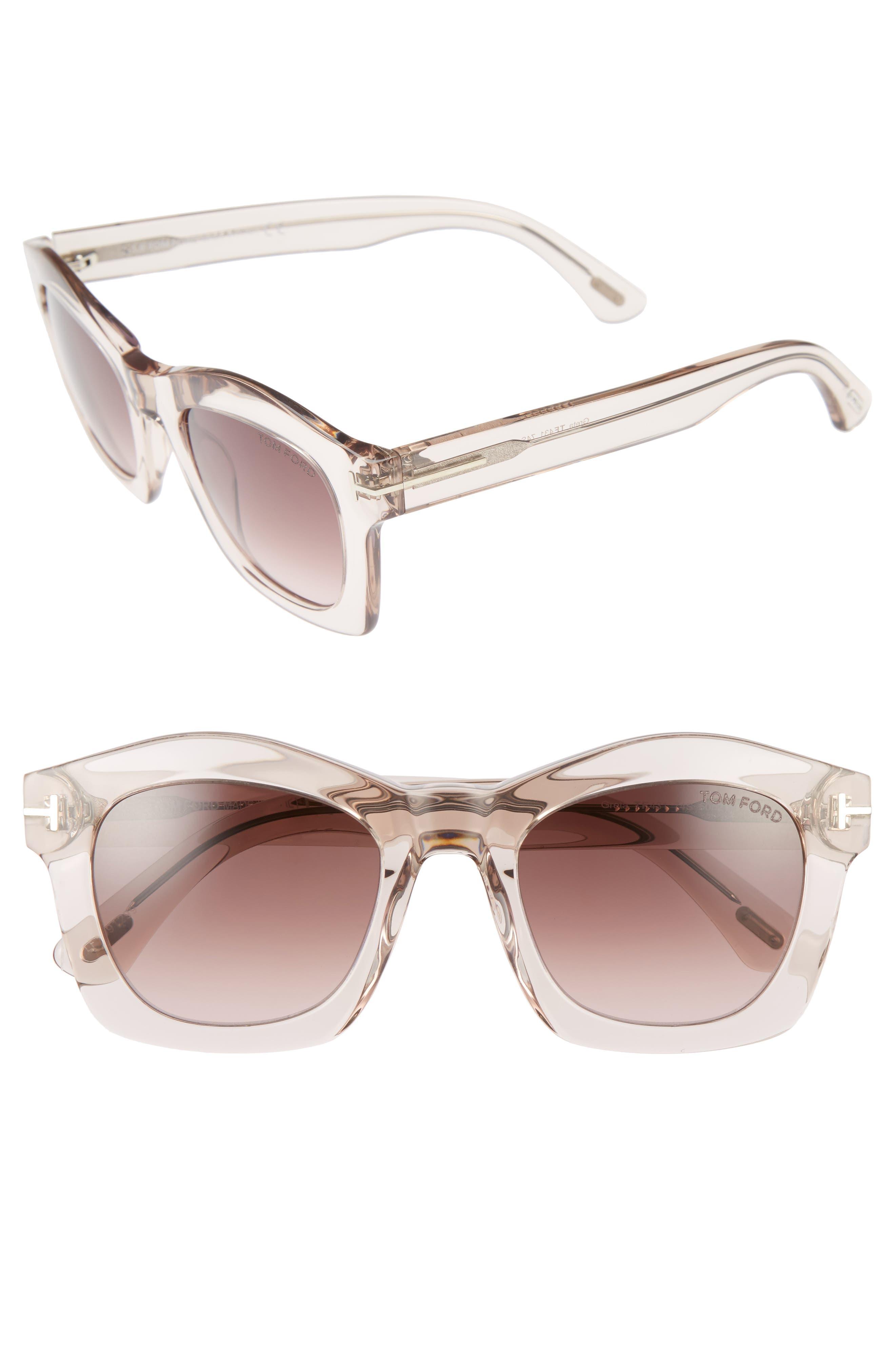 'Greta' 50mm Sunglasses,                         Main,                         color, Transparent Pink/ Bordeaux
