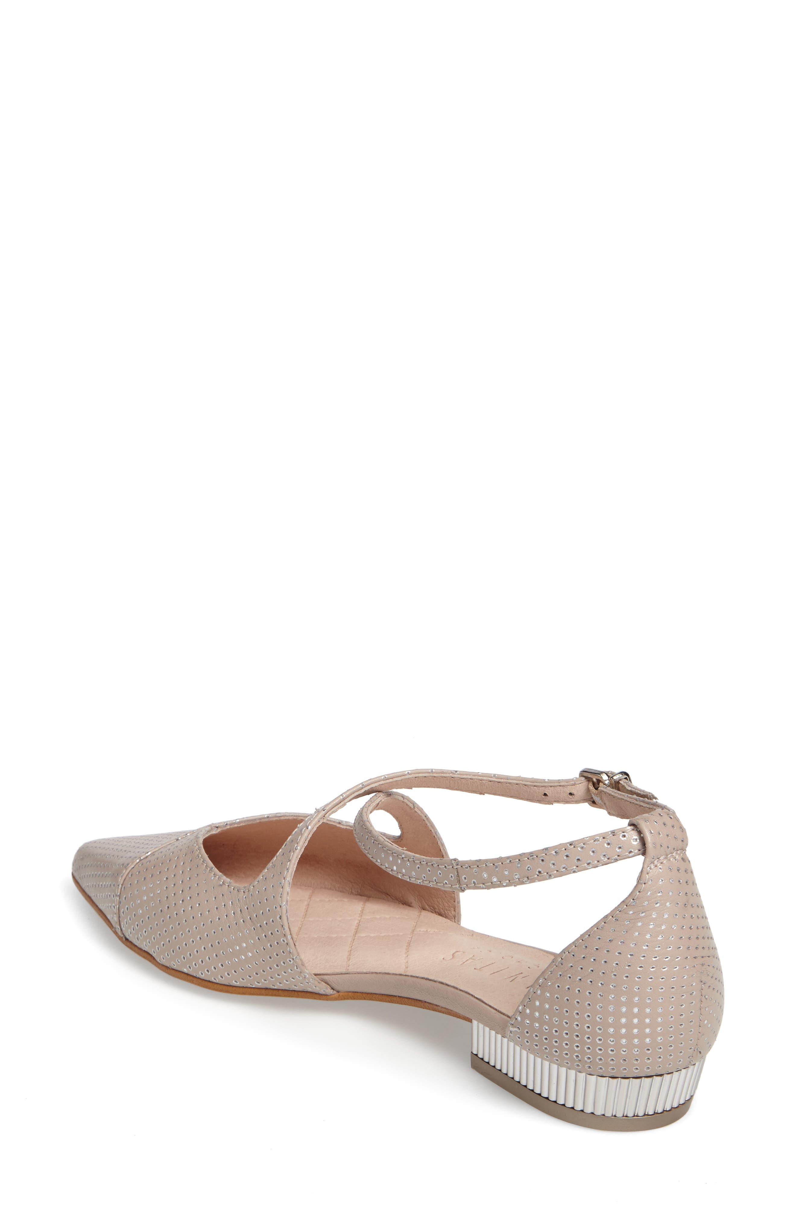 April Perforated Pointy Toe Flat,                             Alternate thumbnail 2, color,                             Nougat Leather