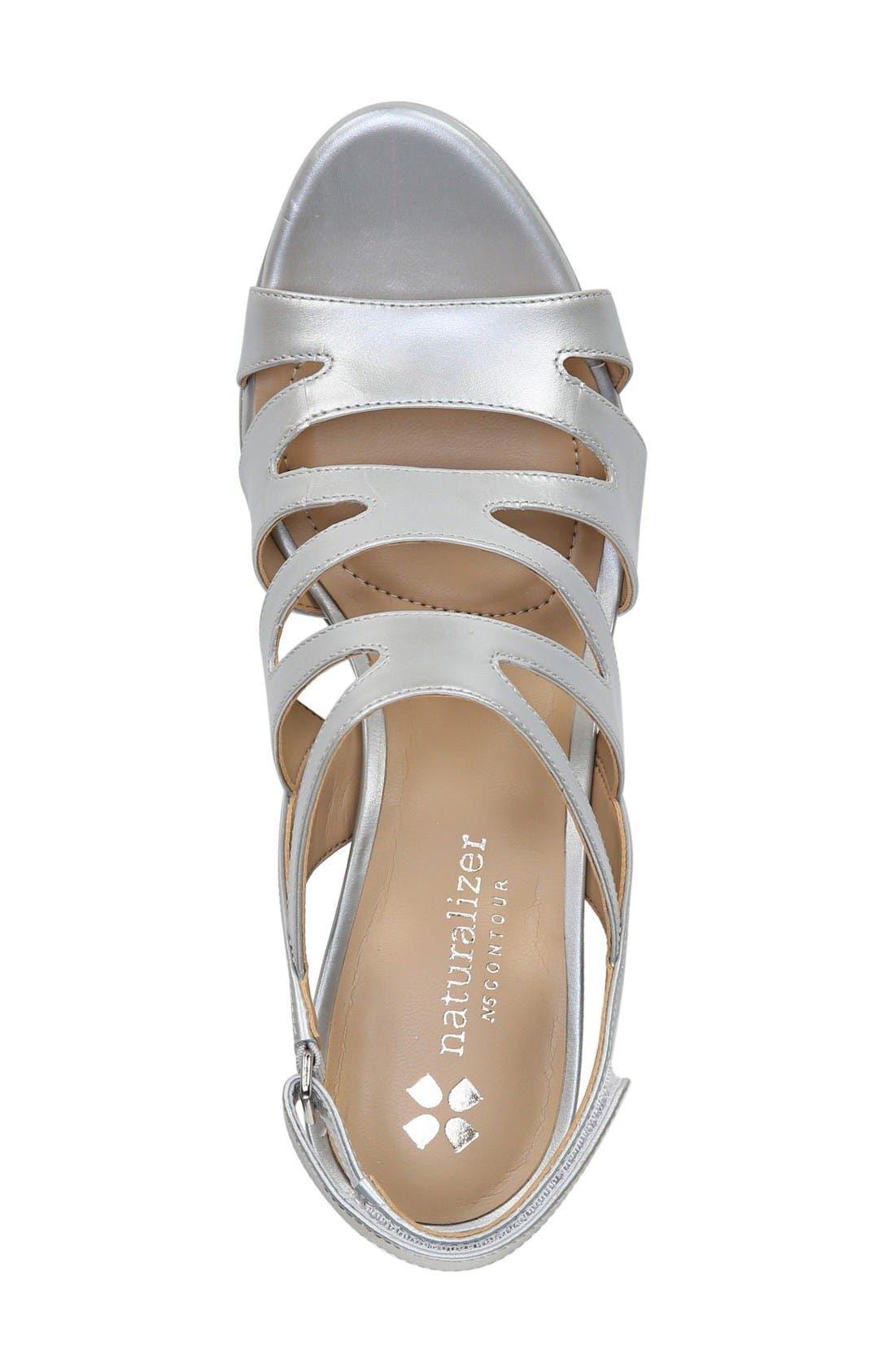 'Pressley' Slingback Platform Sandal,                             Alternate thumbnail 3, color,                             Silver Leather