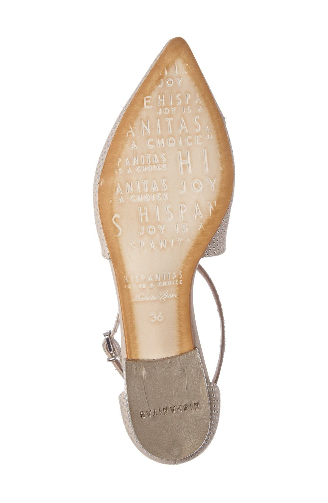April Perforated Pointy Toe Flat,                             Alternate thumbnail 4, color,                             Nougat Leather