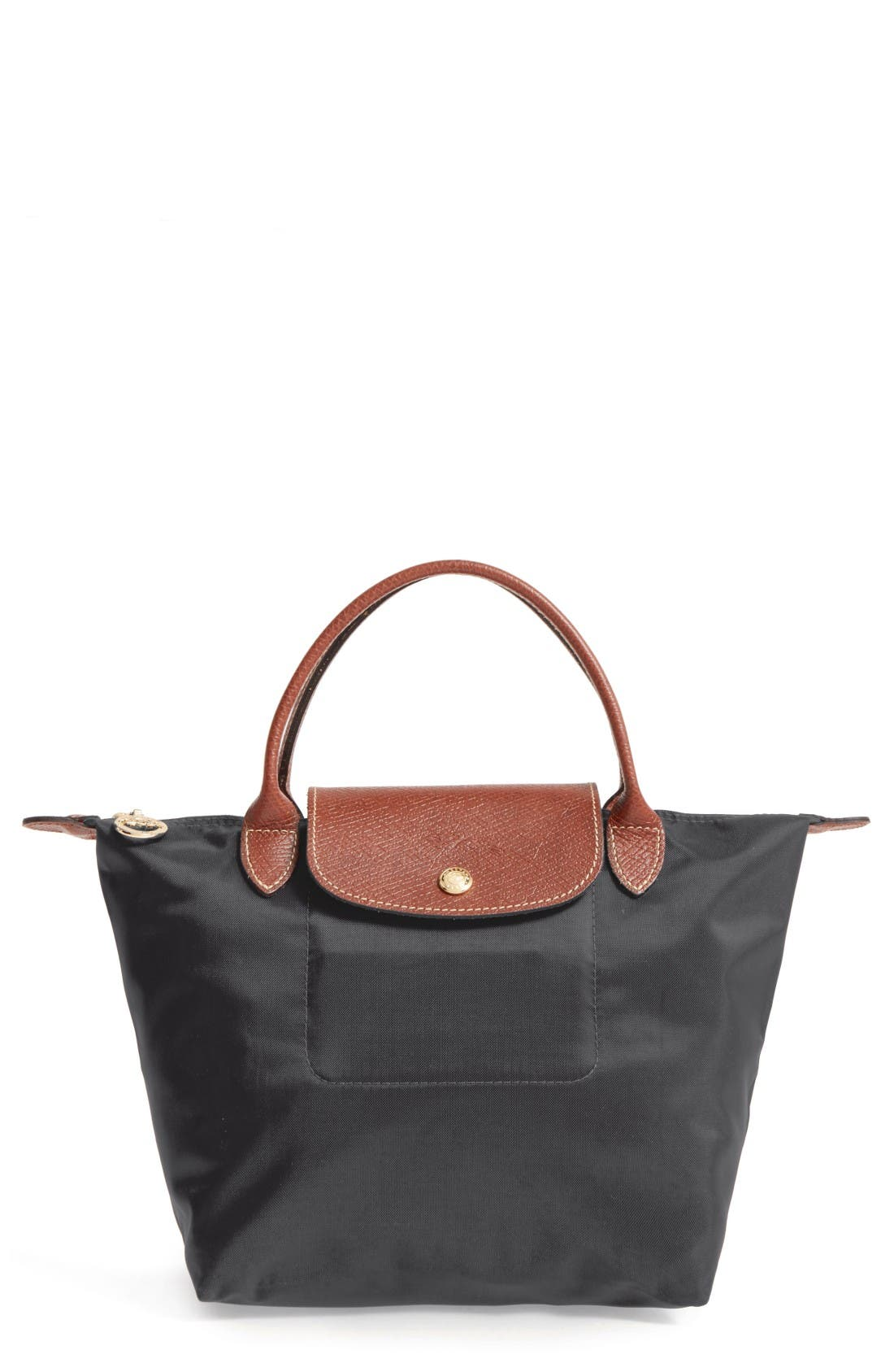 'Small Le Pliage' Top Handle Tote - Black