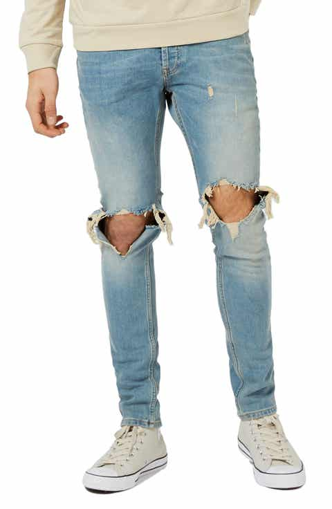 Topman Ripped Stretch Skinny Jeans - Men's Ripped & Destroyed Jeans, Relaxed, Bootcut Fit & Selvedge