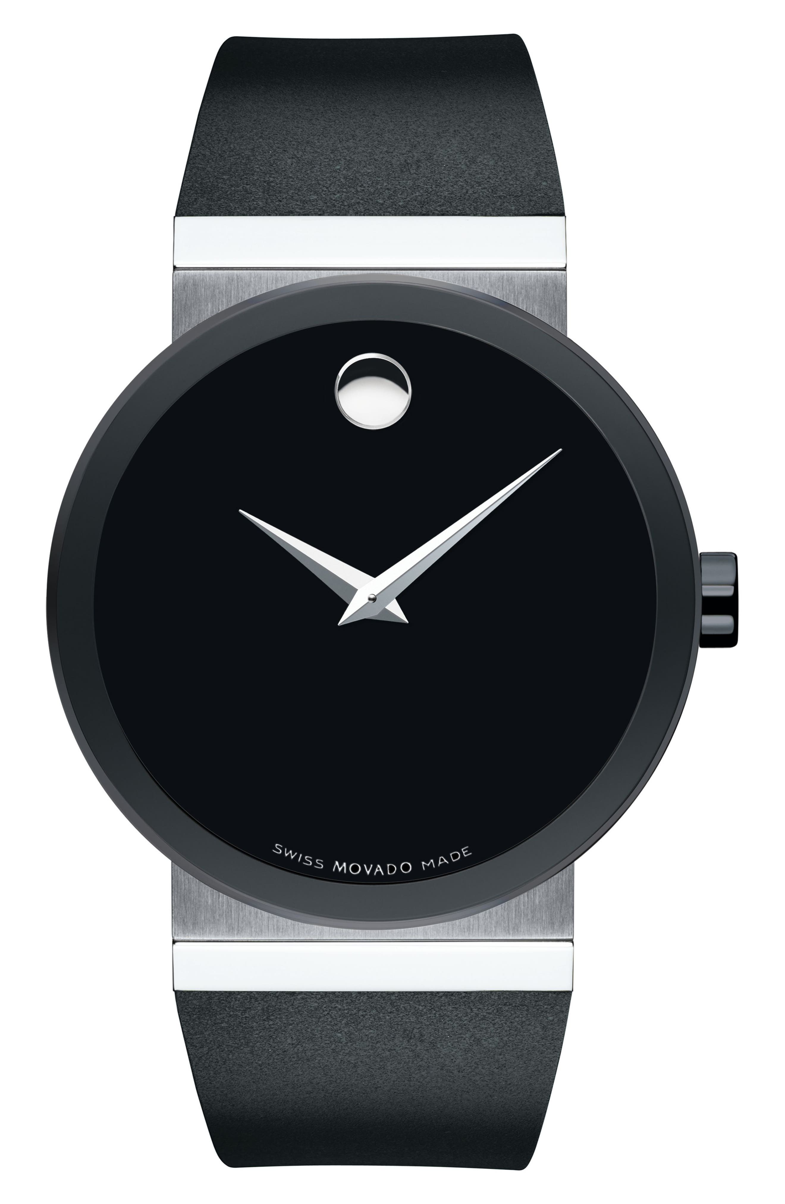 Sapphire Synergy Rubber Strap Watch, 42mm,                         Main,                         color, Black