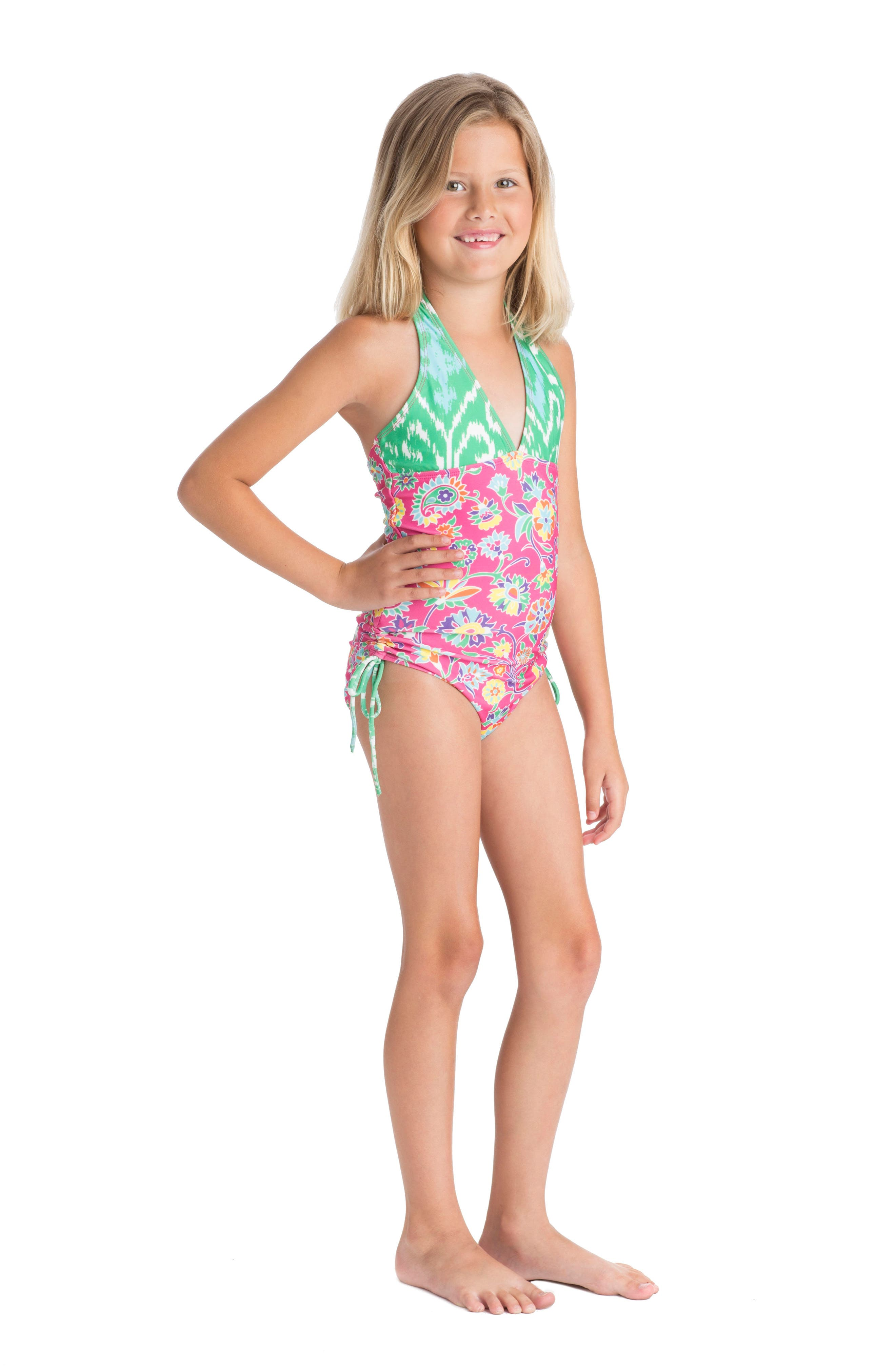 One-Piece Halter Swimsuit,                             Alternate thumbnail 2, color,                             Pink