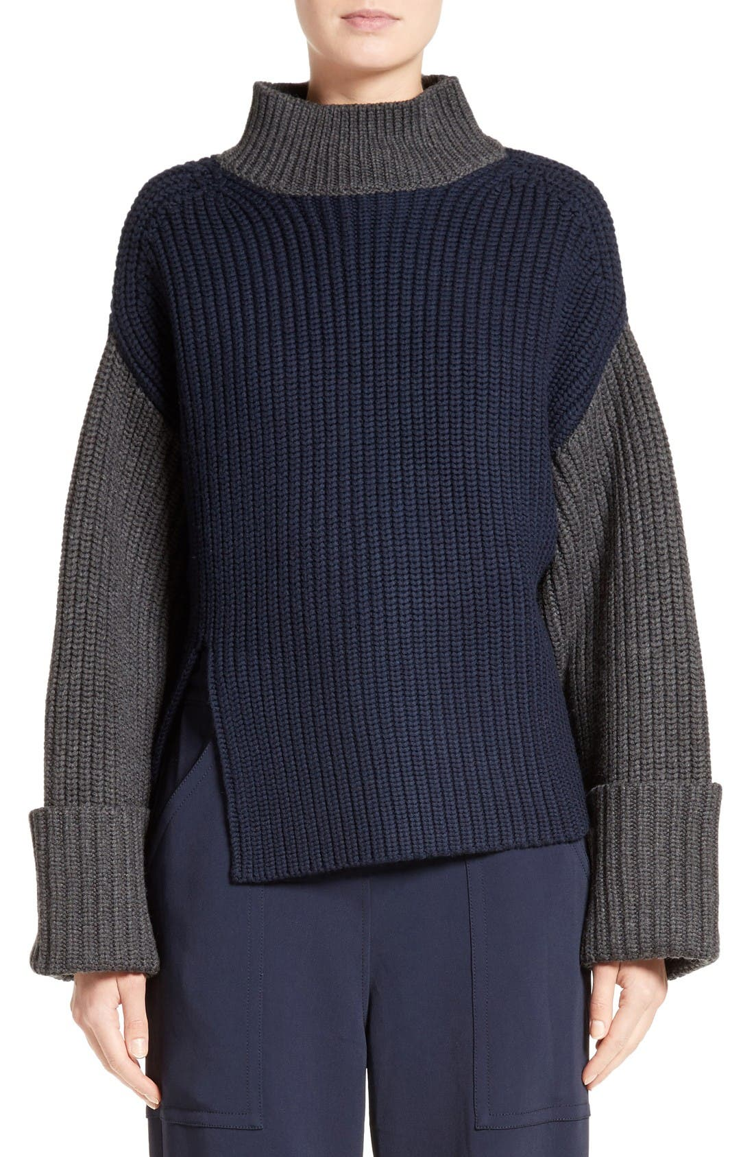 Alternate Image 1 Selected - Victor Alfaro Colorblock Merino Wool Turtleneck Sweater