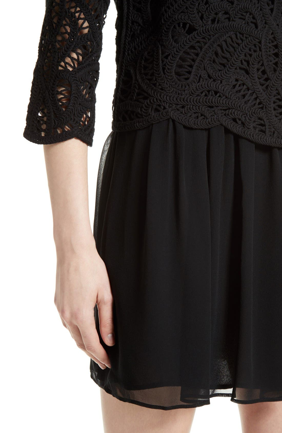 Alternate Image 4  - Joie Jordie Crochet Overlay Chiffon Dress