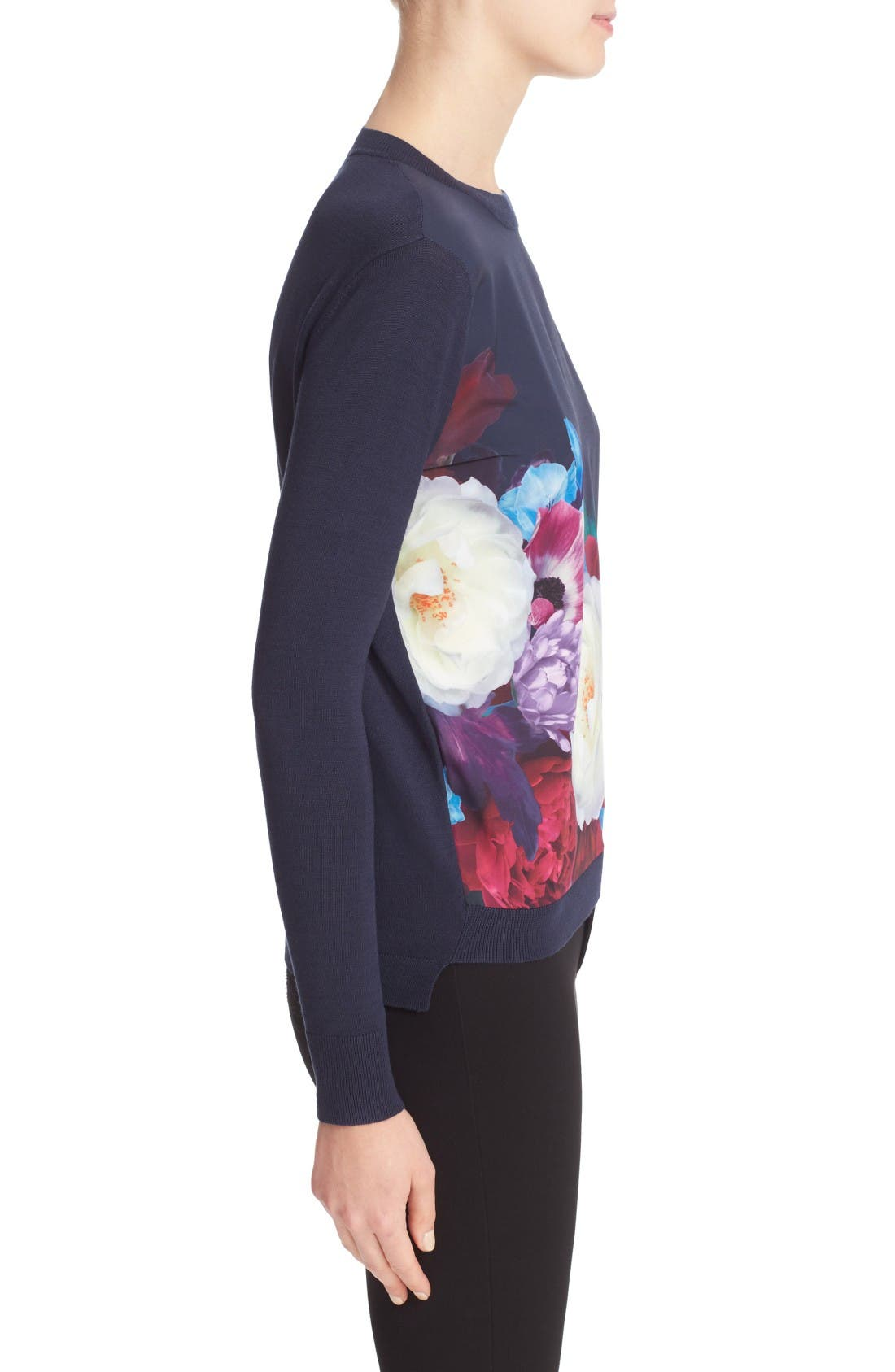 Alternate Image 3  - Ted Baker London Islii Blushing Bouquet Woven Front Sweater