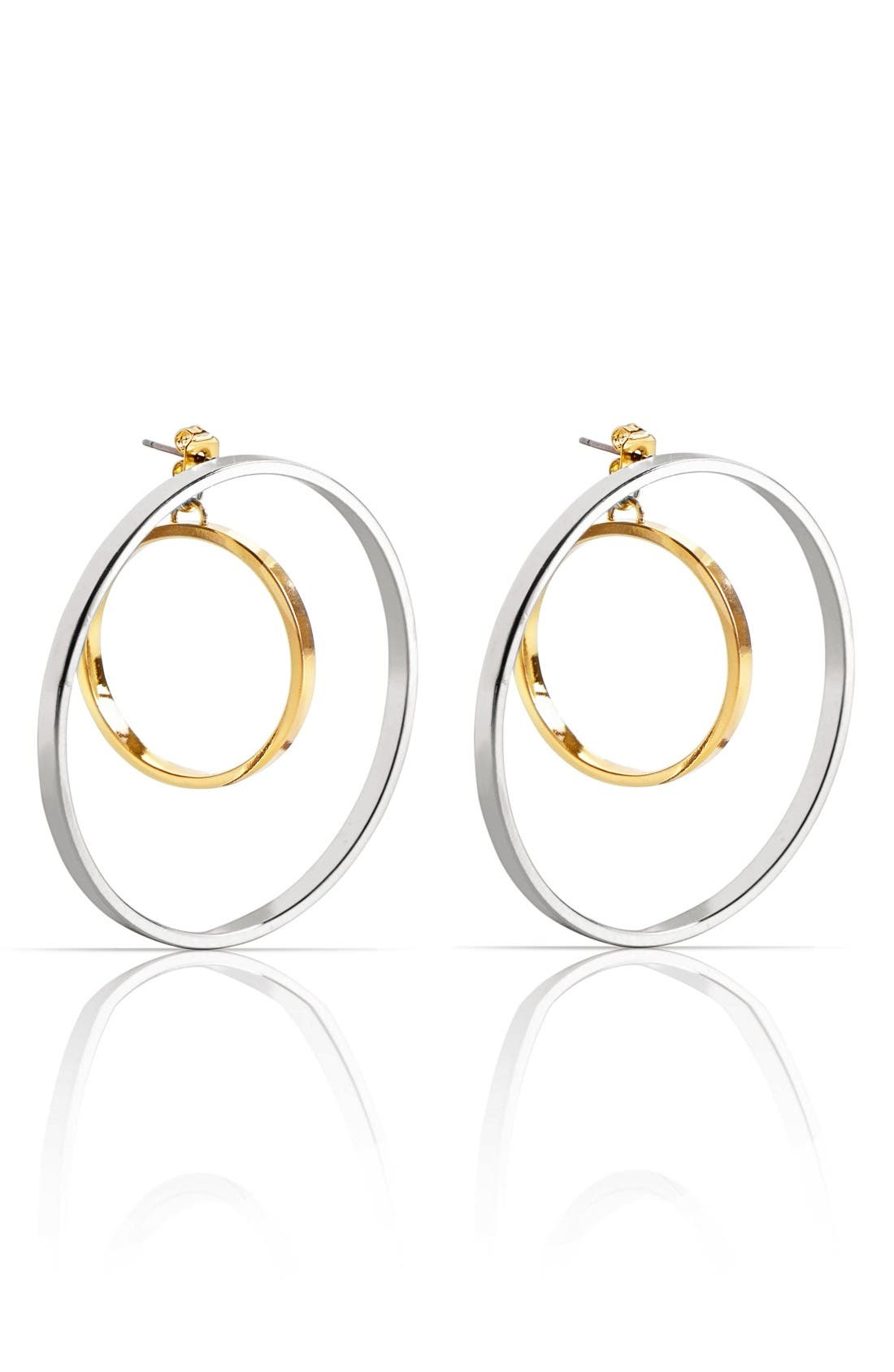 Rise Hoop Earrings,                             Main thumbnail 1, color,                             Two Tone
