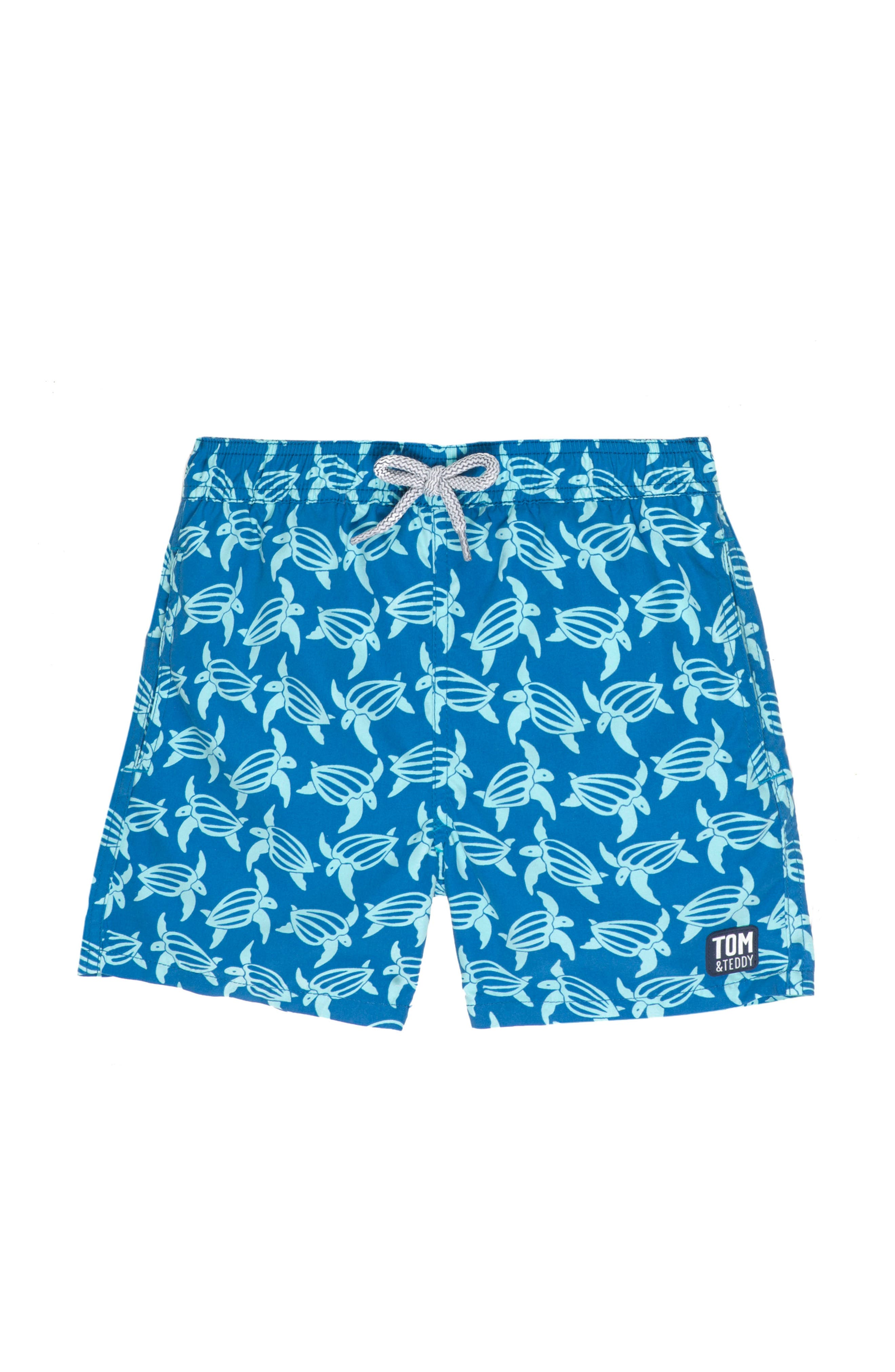 Turtle Swim Trunks,                             Main thumbnail 1, color,                             Mid Blue/ Sky